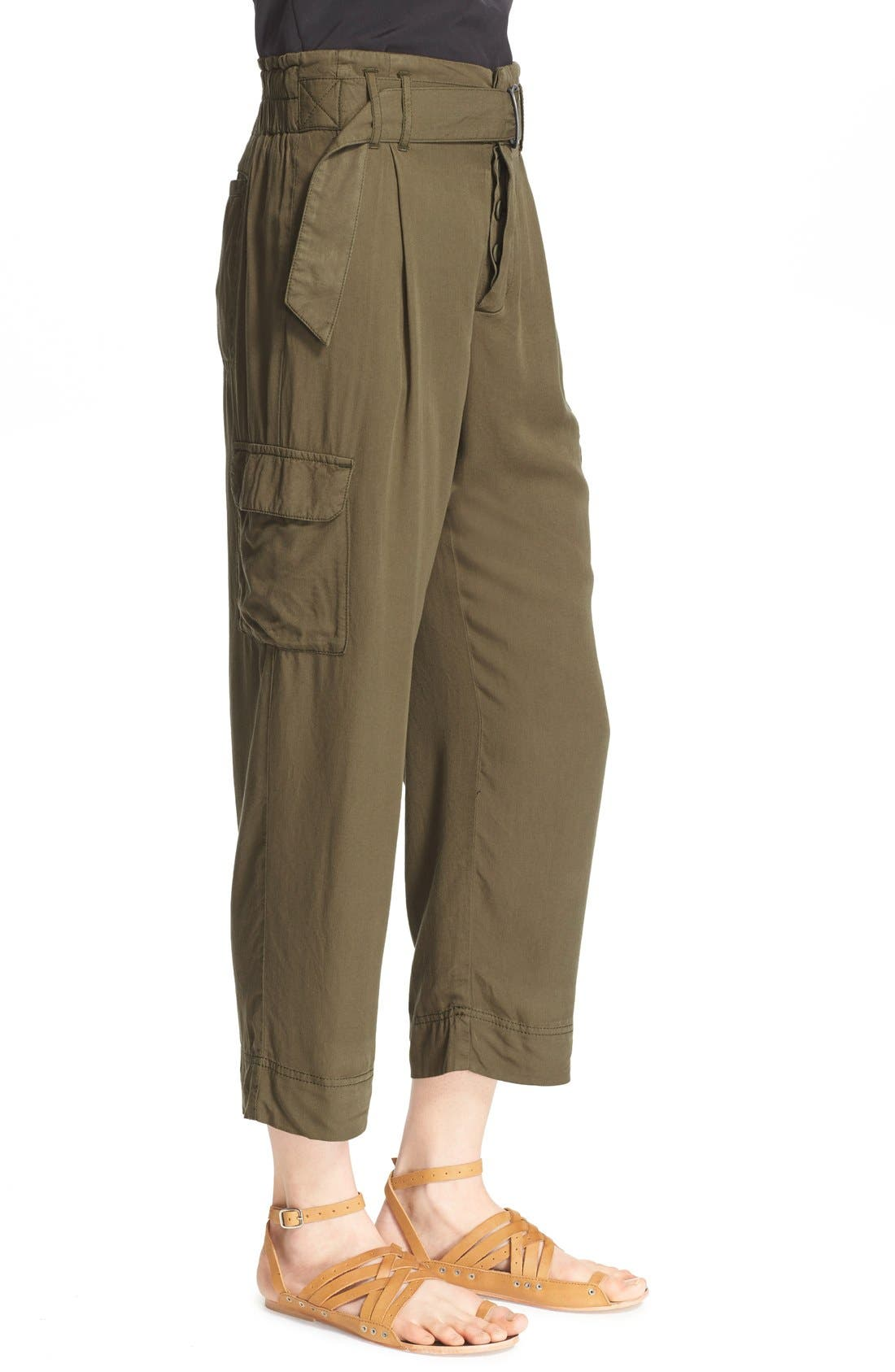 Crop Cargo Pants,                             Alternate thumbnail 3, color,                             Army