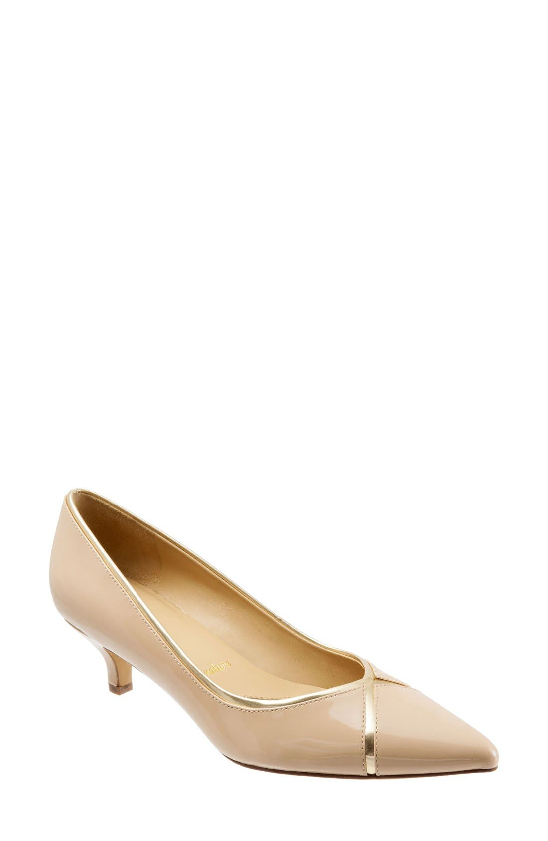 'Kelsey' Pointy Toe Pump,                             Main thumbnail 1, color,                             Nude