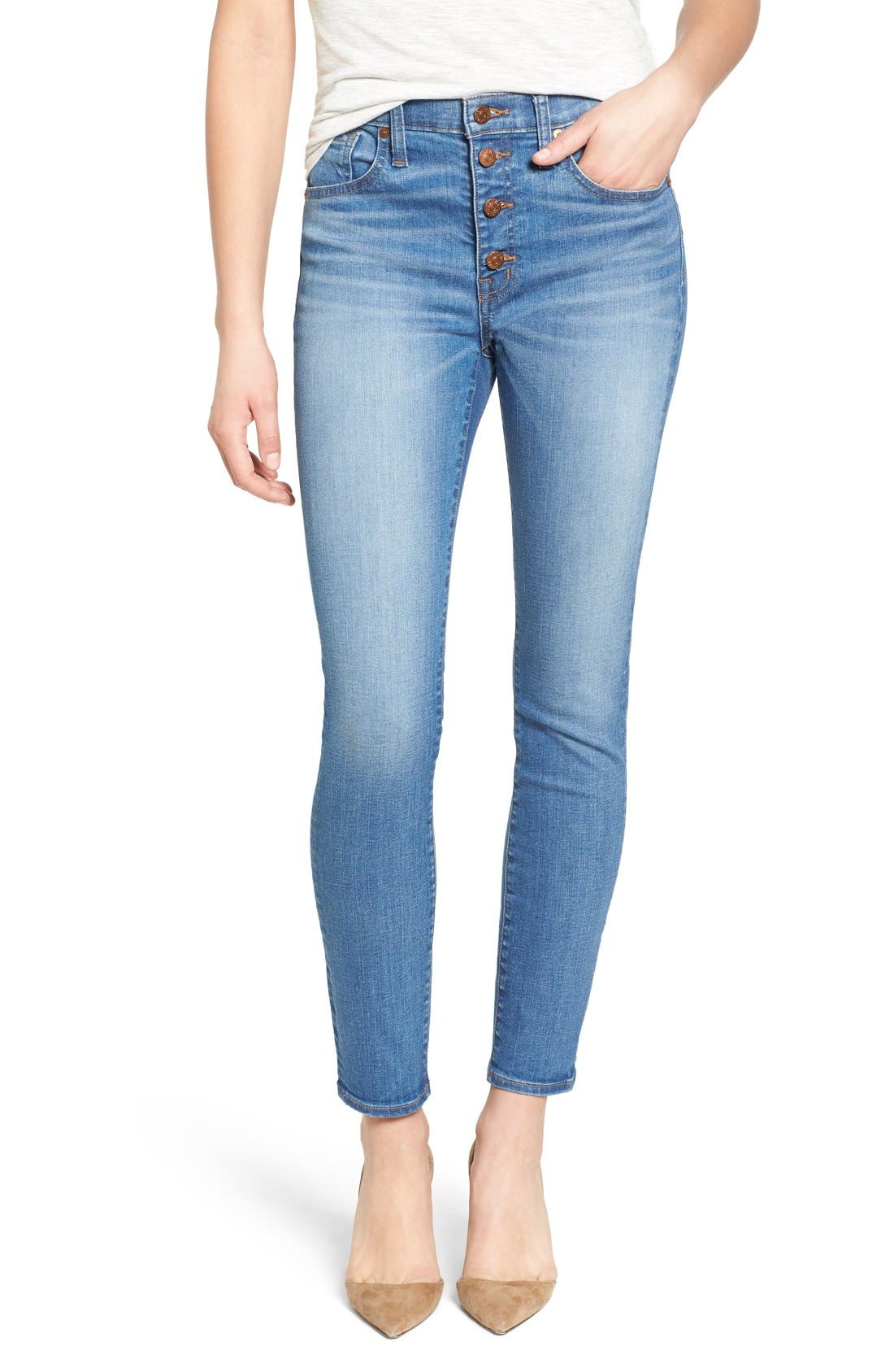 Main Image - Madewell 'High Riser - Button Through' Crop Skinny Skinny Jeans (Kearney Wash)