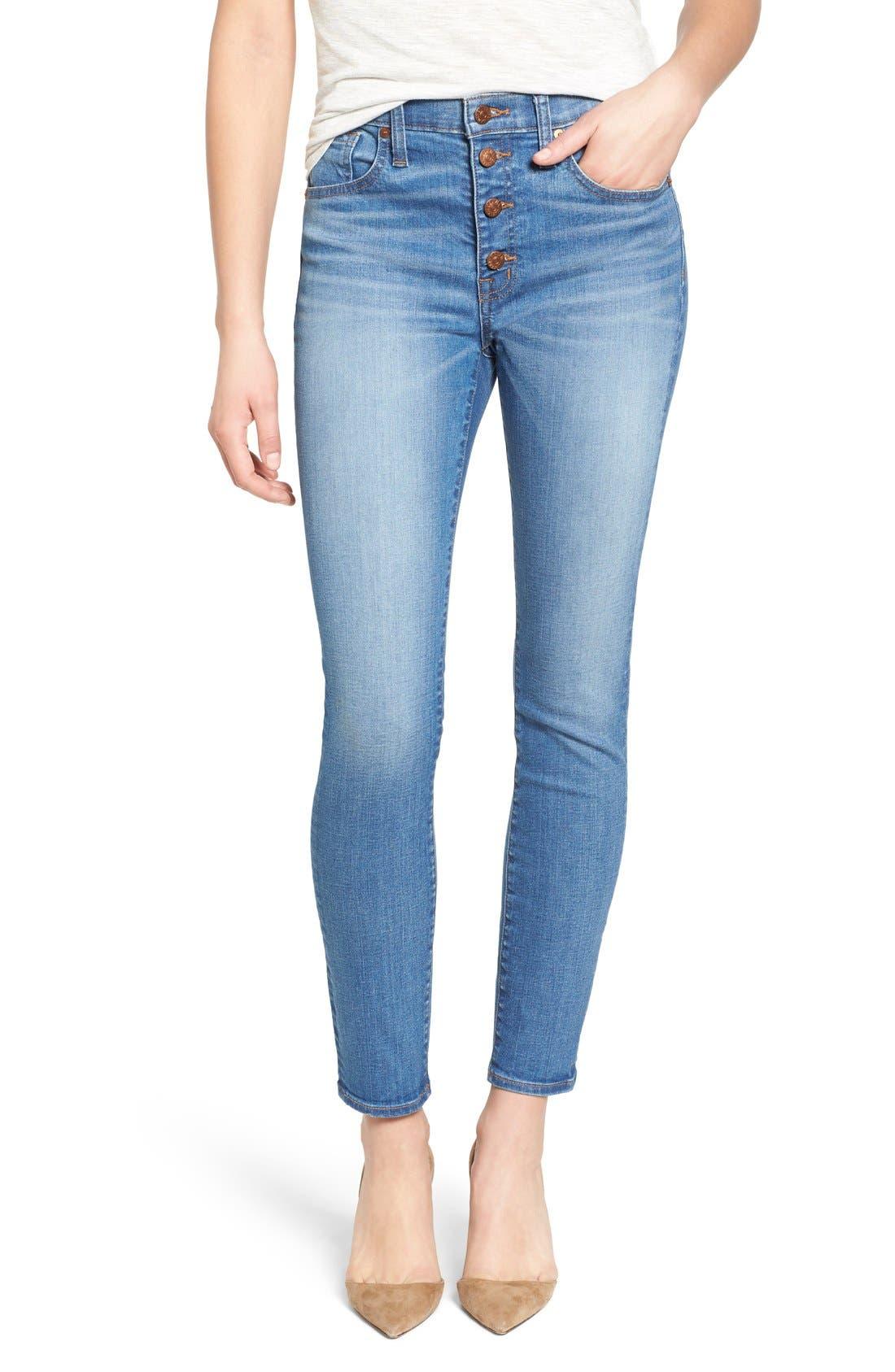 'High Riser - Button Through' Crop Skinny Skinny Jeans,                         Main,                         color, Kearney Wash