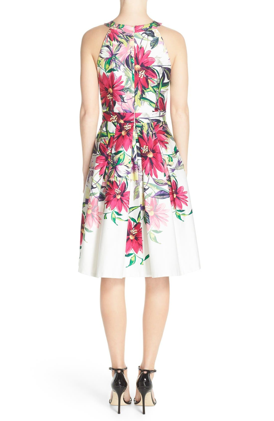 Floral Print Tea Length Fit & Flare Dress,                             Alternate thumbnail 2, color,                             Ivory/ Pink Print