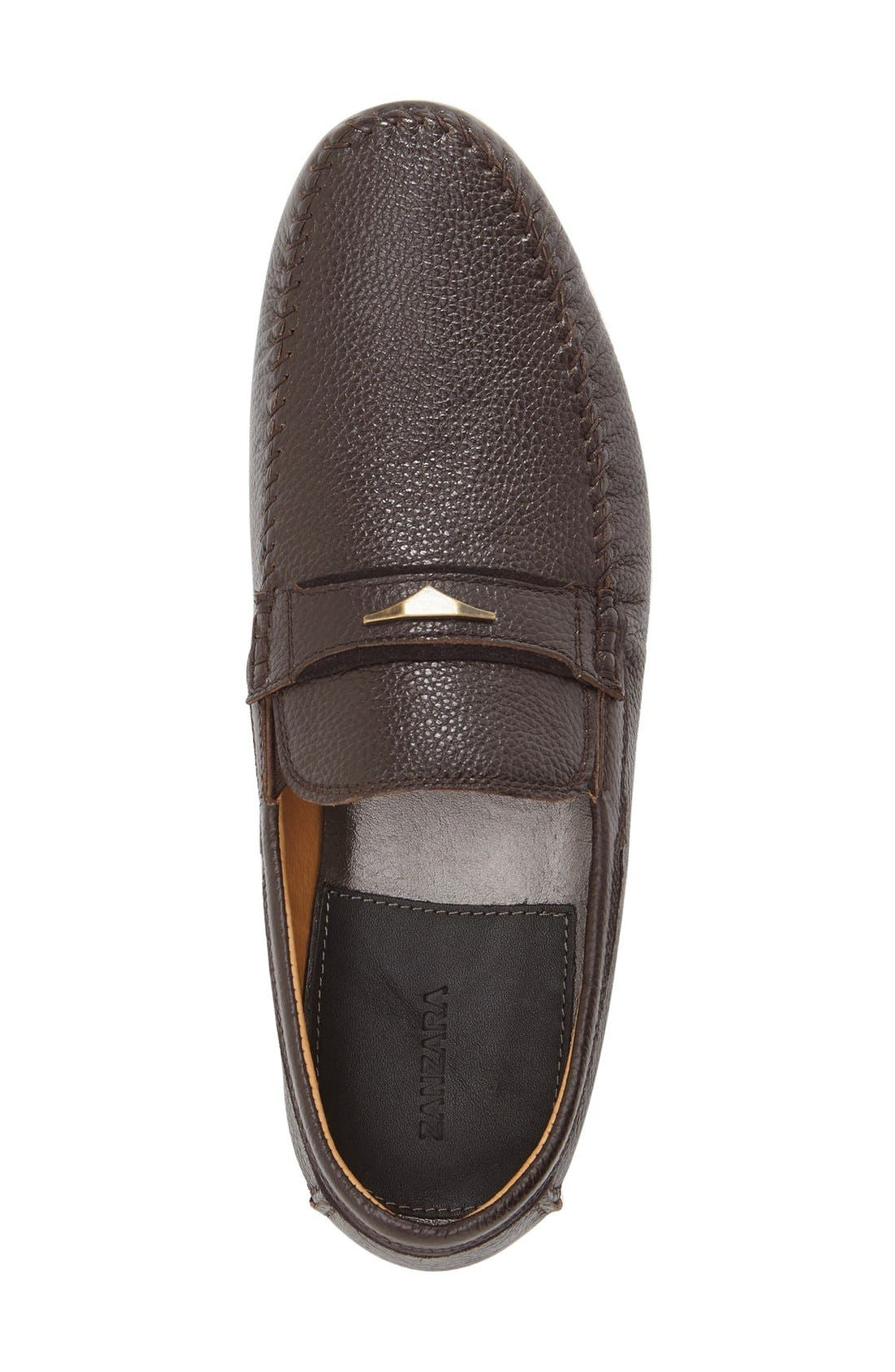 Leather Loafer,                             Alternate thumbnail 3, color,                             Brown Leather