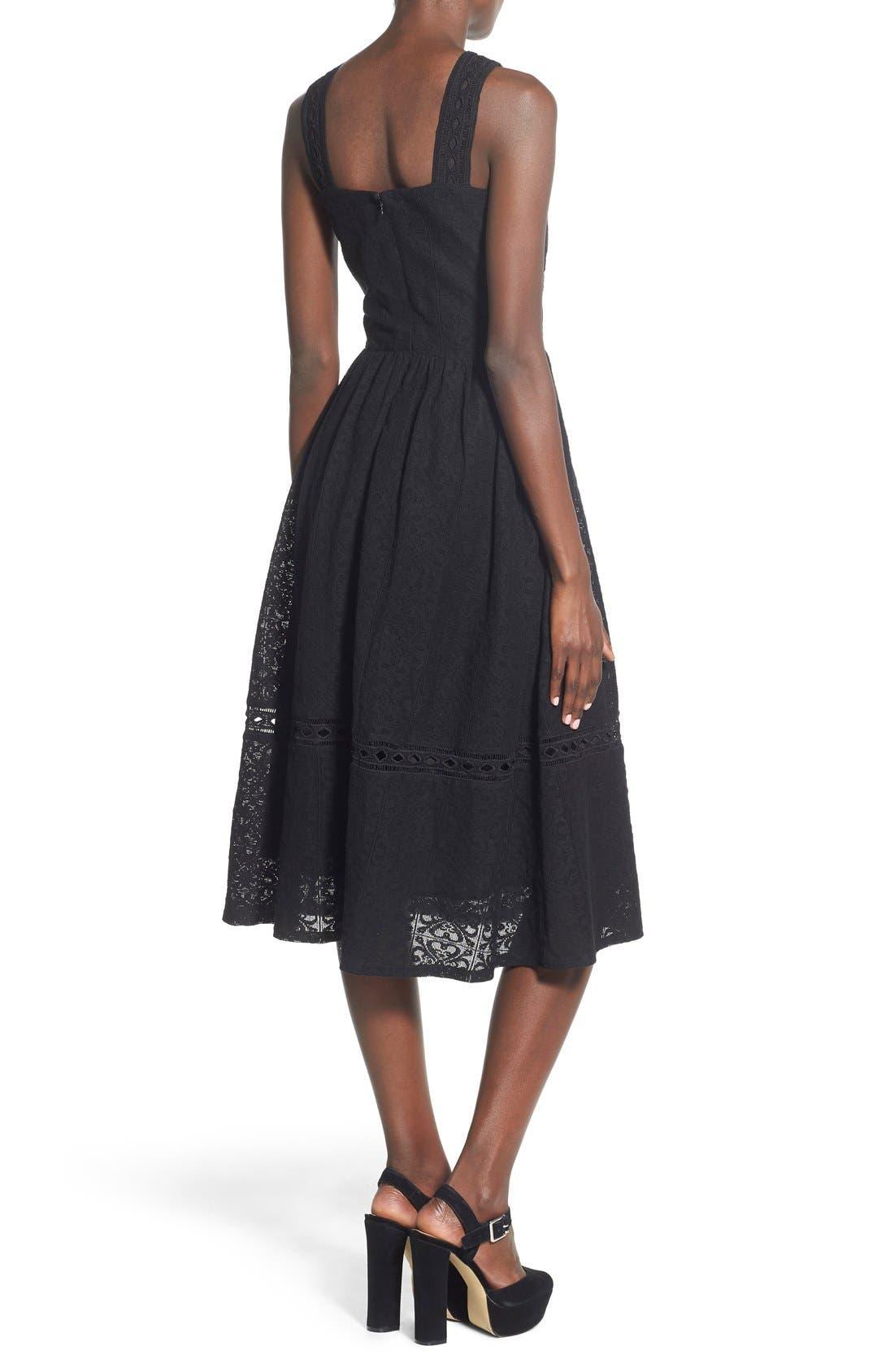 Lace Fit & Flare Midi Dress,                             Alternate thumbnail 2, color,                             Black