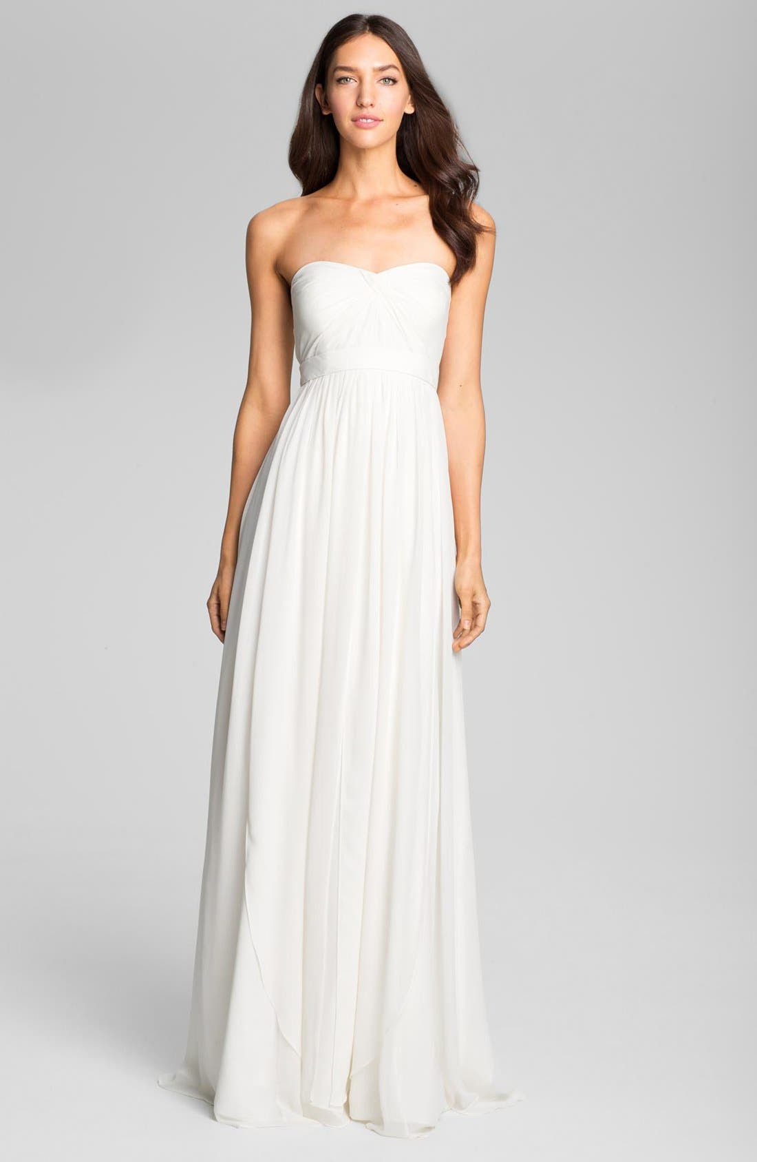 Alternate Image 1 Selected - Jenny Yoo 'Monarch' Sweetheart Neckline Layered Chiffon Gown