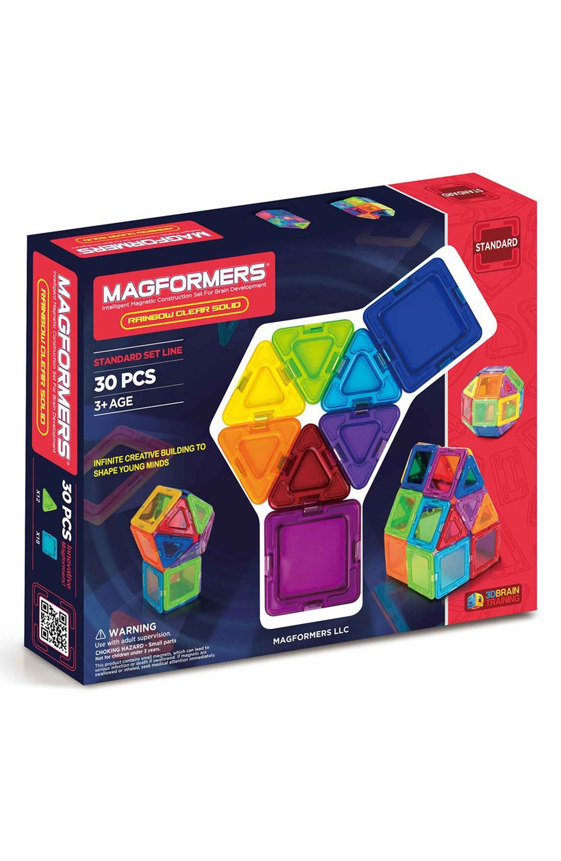 'Standard - Solids' Clear Magnetic 3D Construction Set,                             Main thumbnail 1, color,                             Rainbow