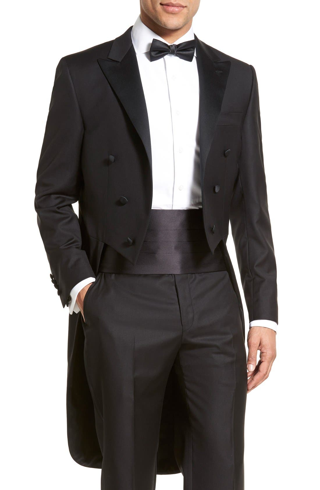 Classic B Fit Tasmanian Wool Tailcoat Tuxedo,                             Alternate thumbnail 5, color,                             Black