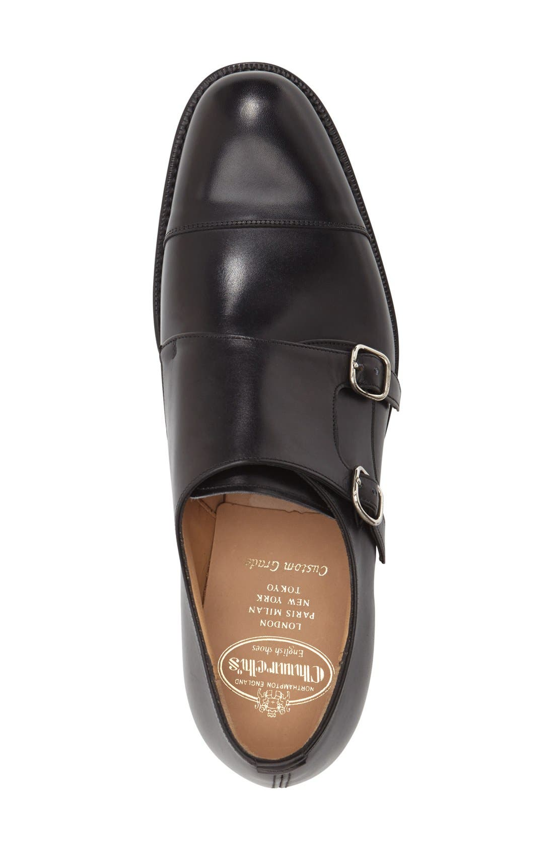 'Cowes' Double Monk Strap Shoe,                             Alternate thumbnail 3, color,                             Black Leather