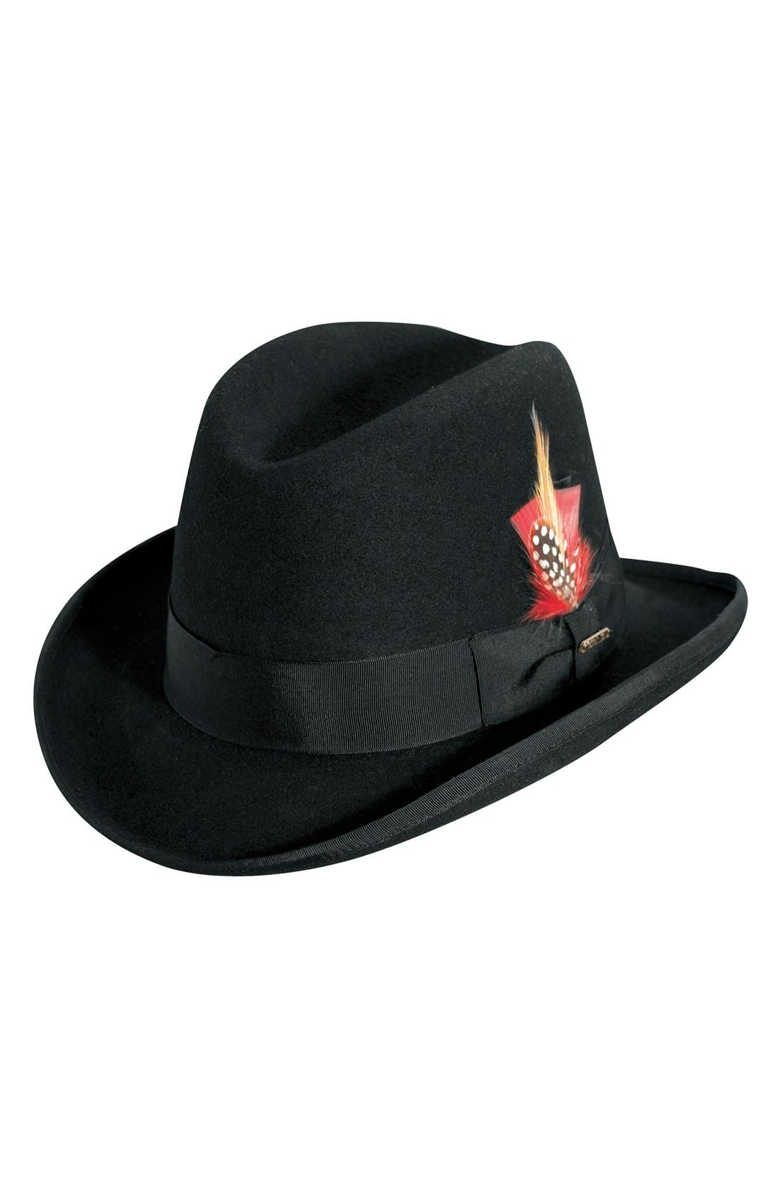 Wool Homburg Hat,                             Main thumbnail 1, color,                             Black