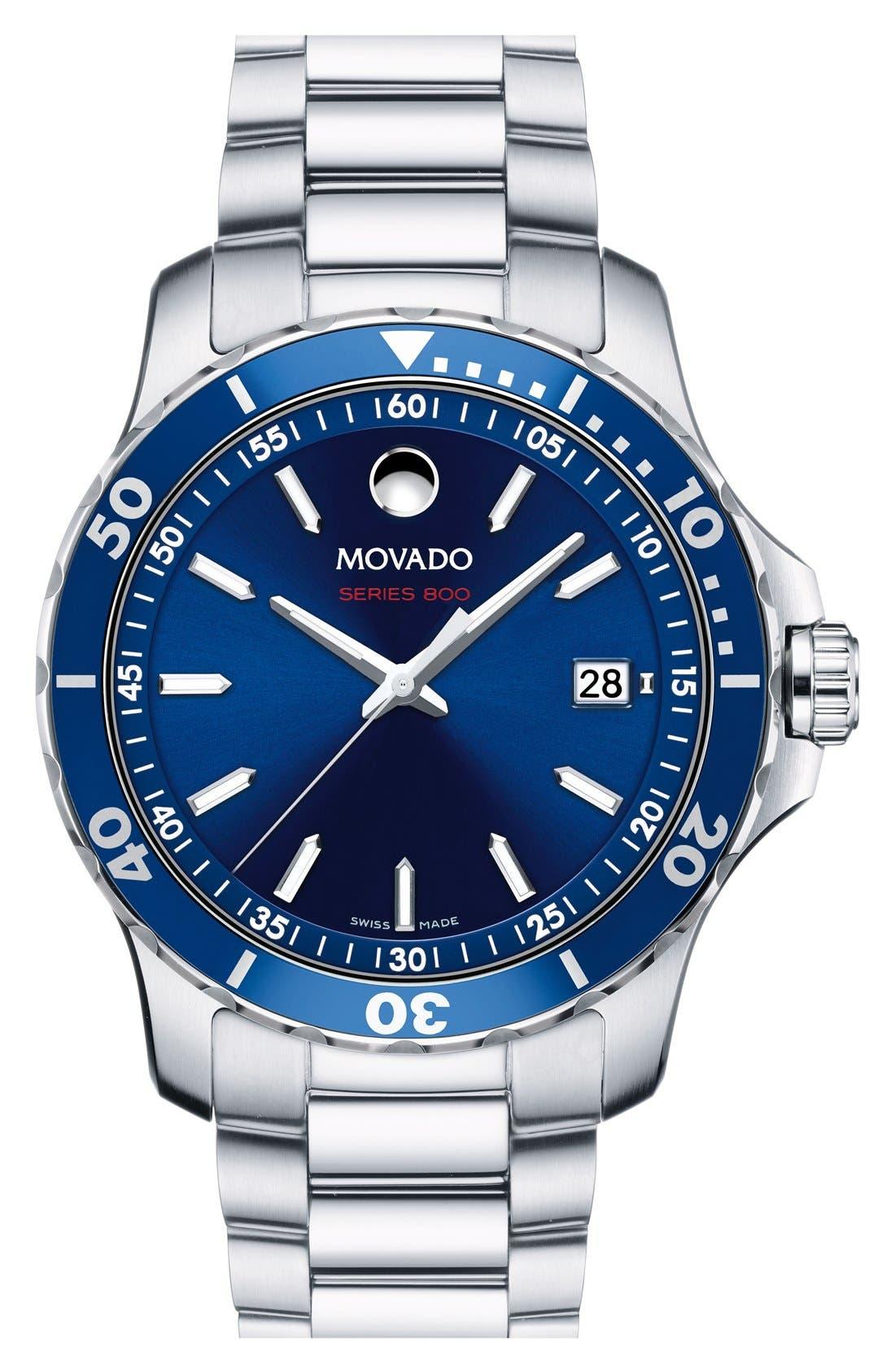 'Series 800' Bracelet Watch, 40mm,                             Main thumbnail 1, color,                             Silver/ Blue
