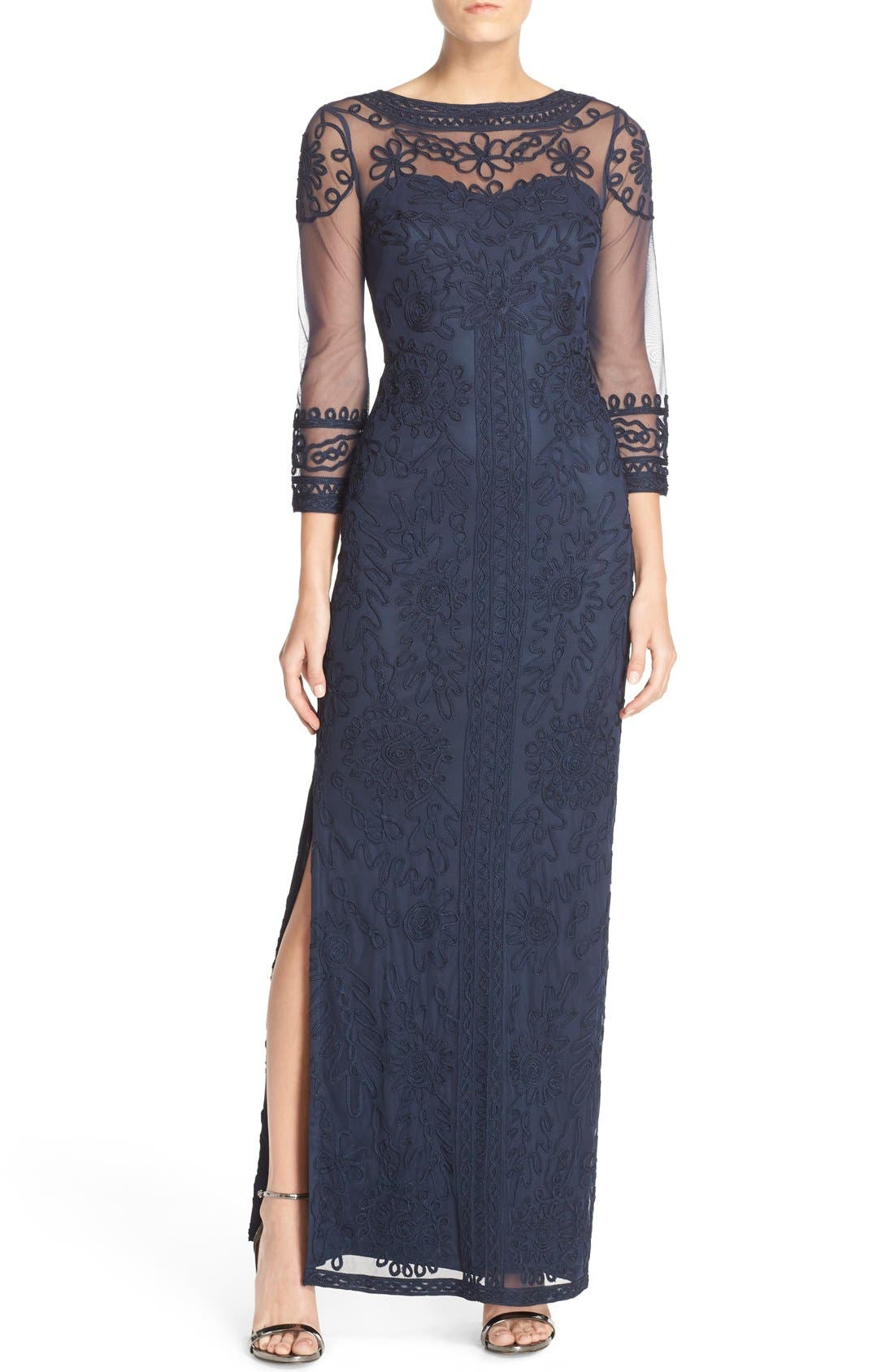 JS COLLECTIONS Illusion Soutache Column Gown