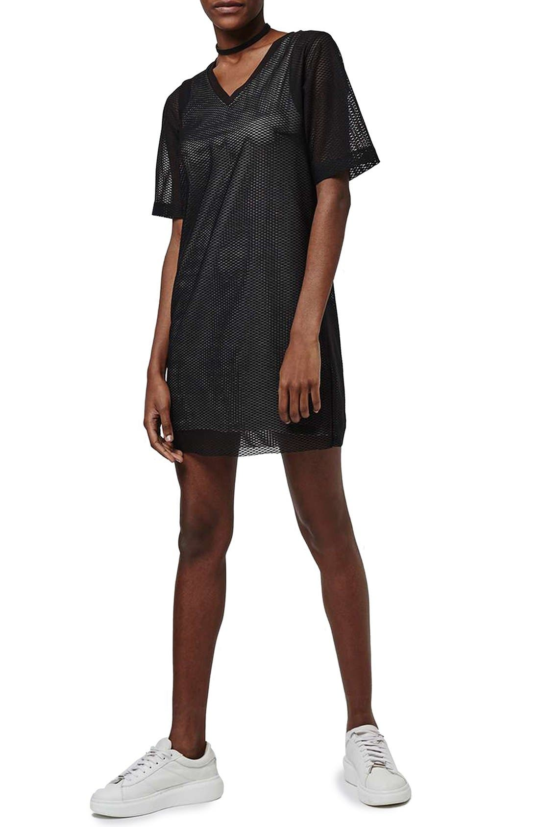 Main Image - Topshop V-Neck Mesh T-Shirt Dress