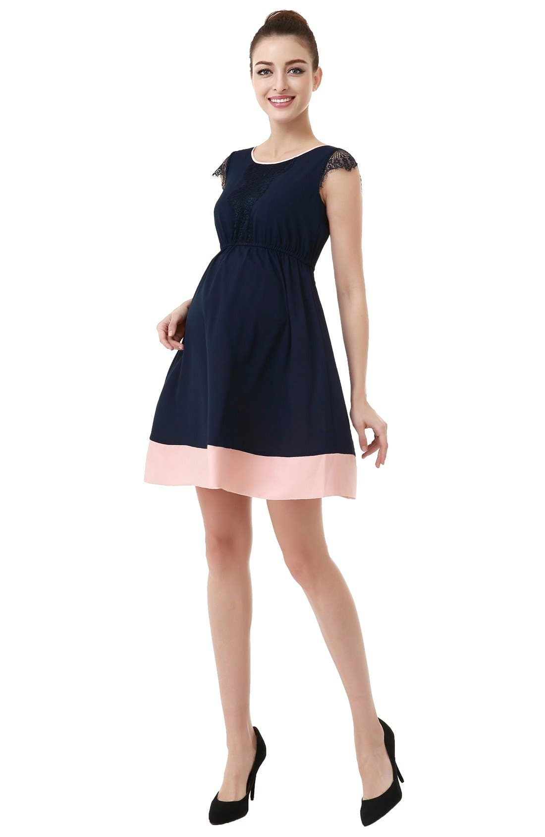 Nell Fit & Flare Maternity Dress,                             Alternate thumbnail 3, color,                             Navy