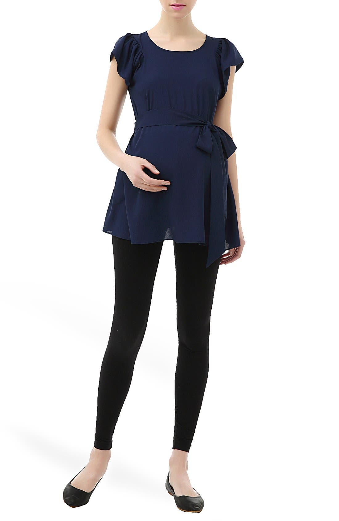 Alternate Image 1 Selected - Kimi and Kai 'Quinn' Flutter Sleeve Belted Maternity Top