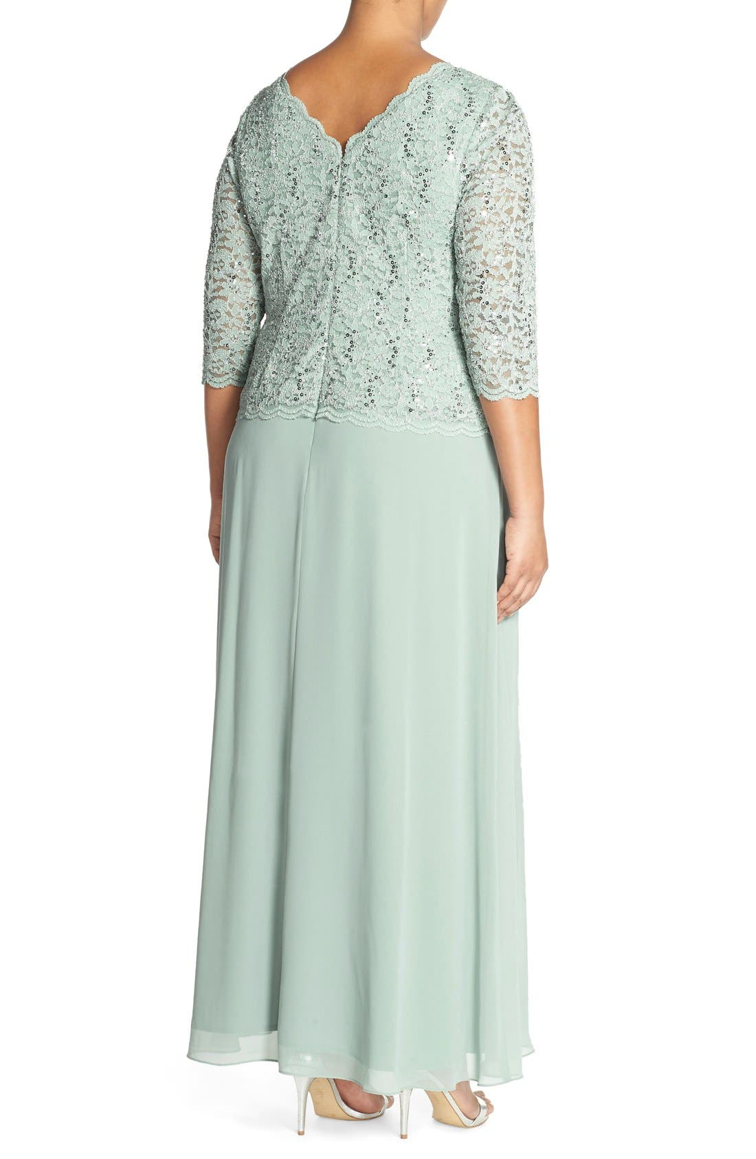 Embellished Lace & Chiffon Gown,                             Alternate thumbnail 2, color,                             Sage