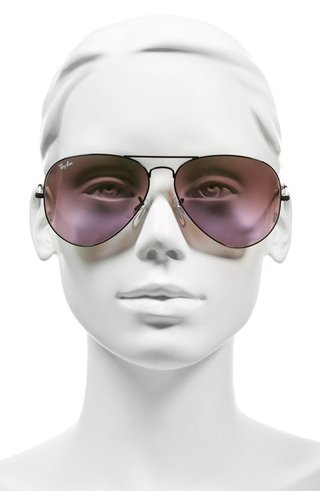 Large Icons 62mm Aviator Sunglasses,                             Alternate thumbnail 2, color,                             Black/ Green