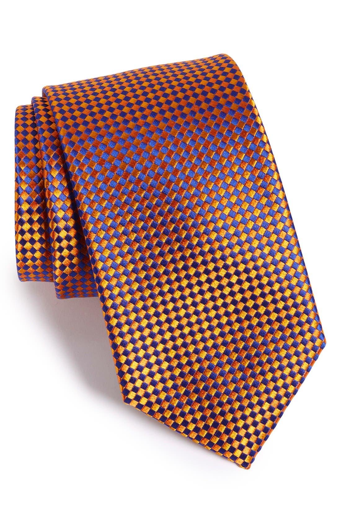 Check Silk Tie,                         Main,                         color, Terracotta