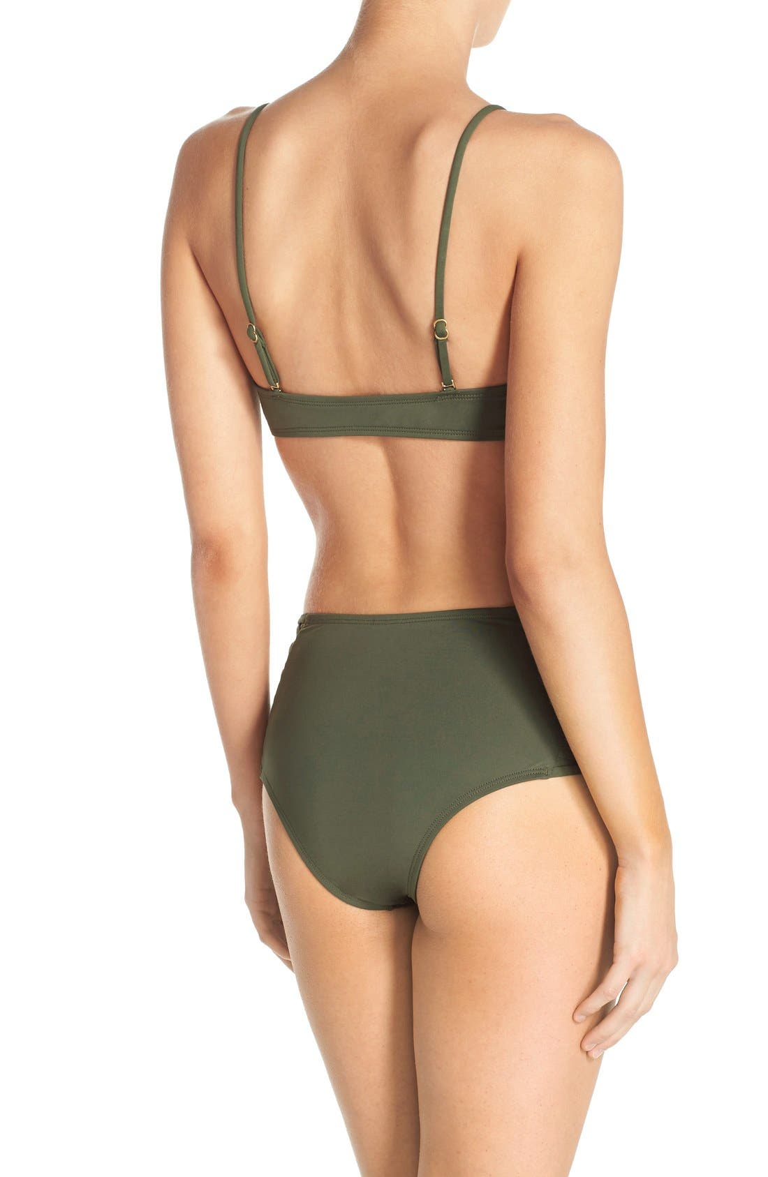 Tigress Classic High Waist Bikini Bottoms,                             Alternate thumbnail 3, color,                             Fern