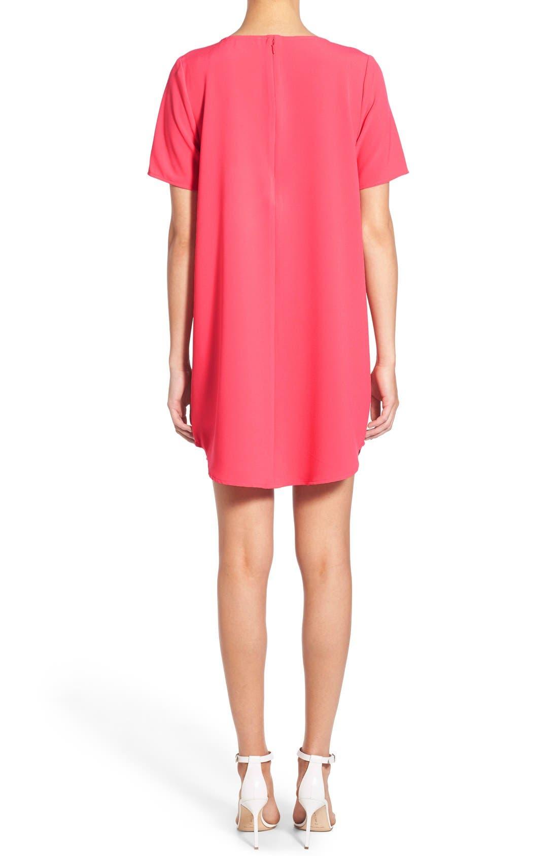 'Magnolia' Shift Dress,                             Alternate thumbnail 2, color,                             Flamingo
