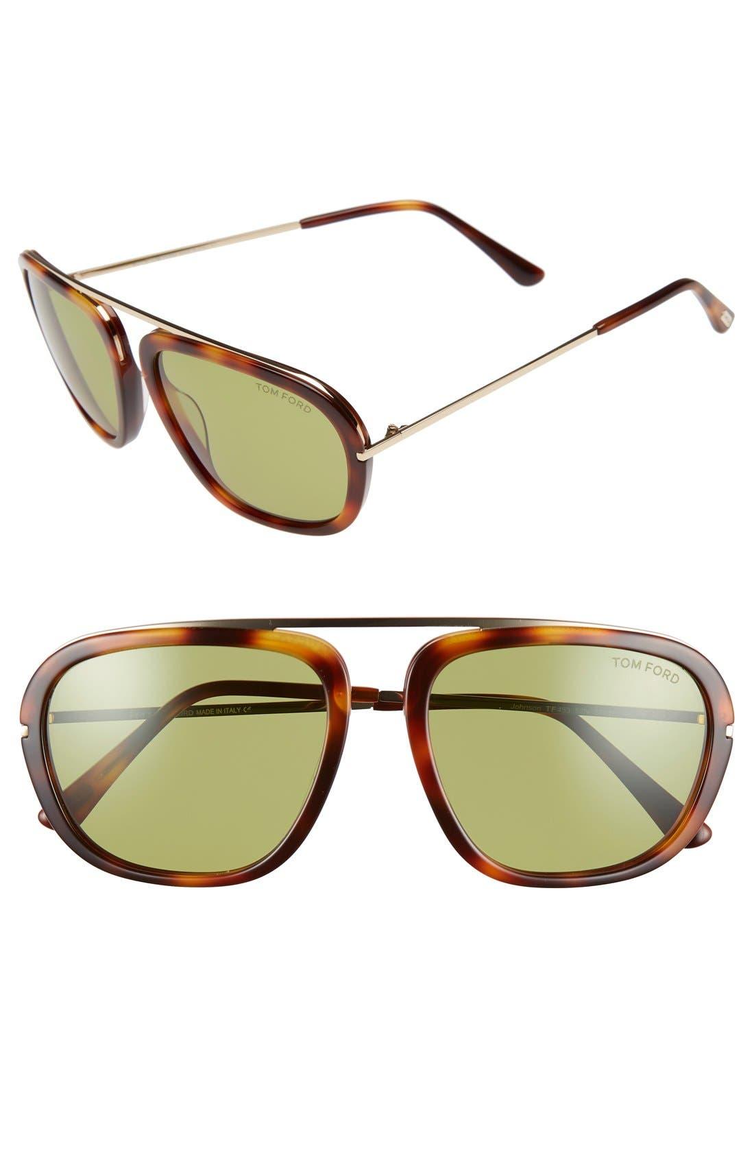 TOM FORD Johnson 57mm Sunglasses