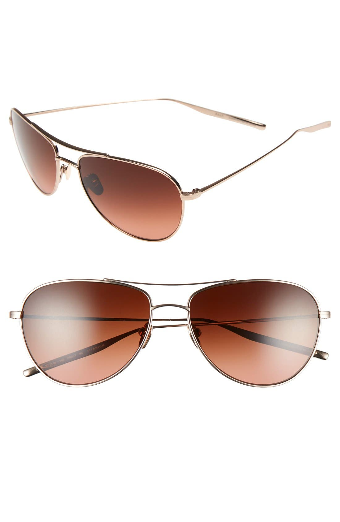 'Pratt' 57mm Aviator Sunglasses,                         Main,                         color, Honey Gold