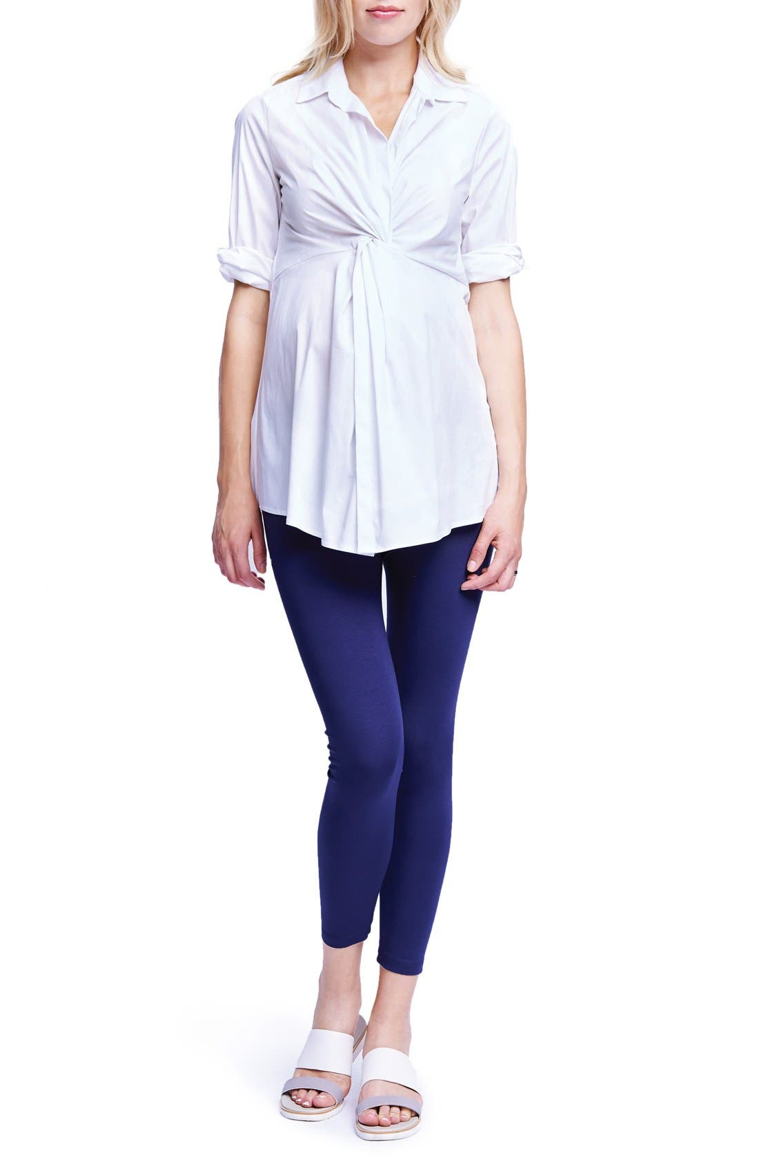 Twist Front Maternity Tunic,                             Main thumbnail 1, color,                             White