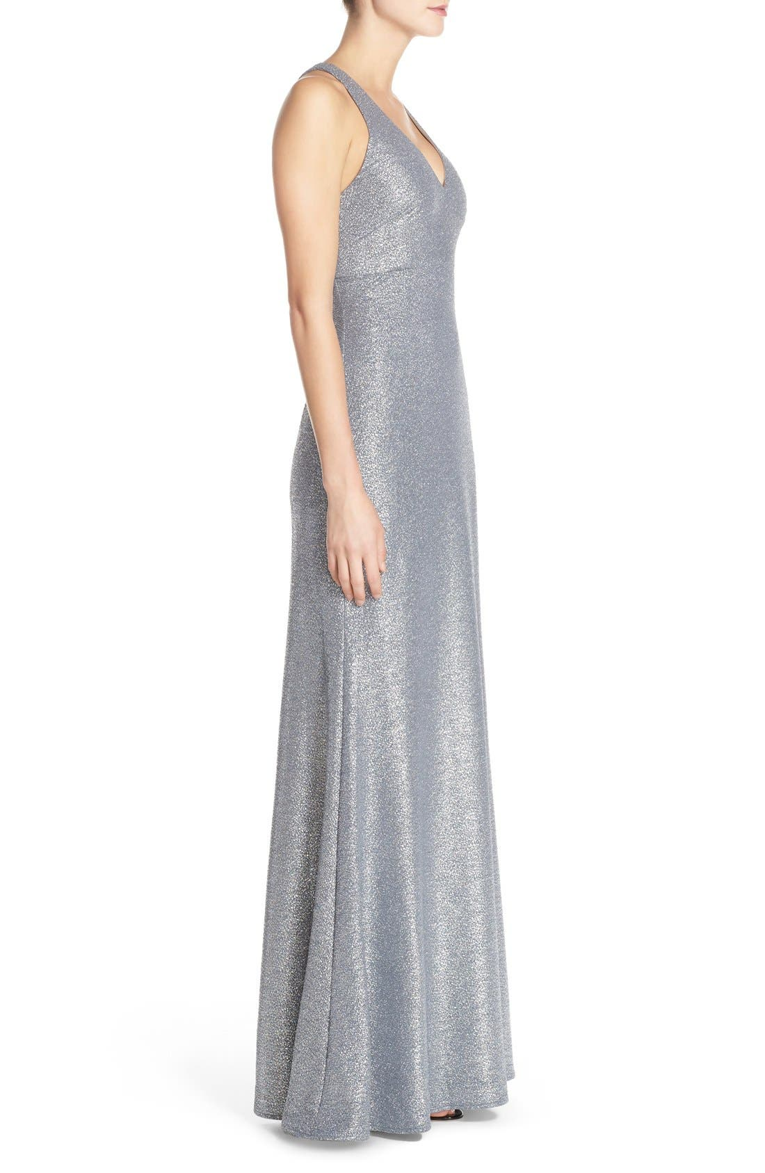 Alternate Image 3  - David Meister Metallic Stretch Cutout Gown