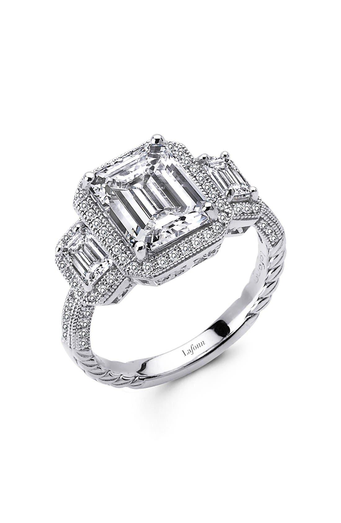 'Lassaire' Three Stone Ring,                         Main,                         color, Silver