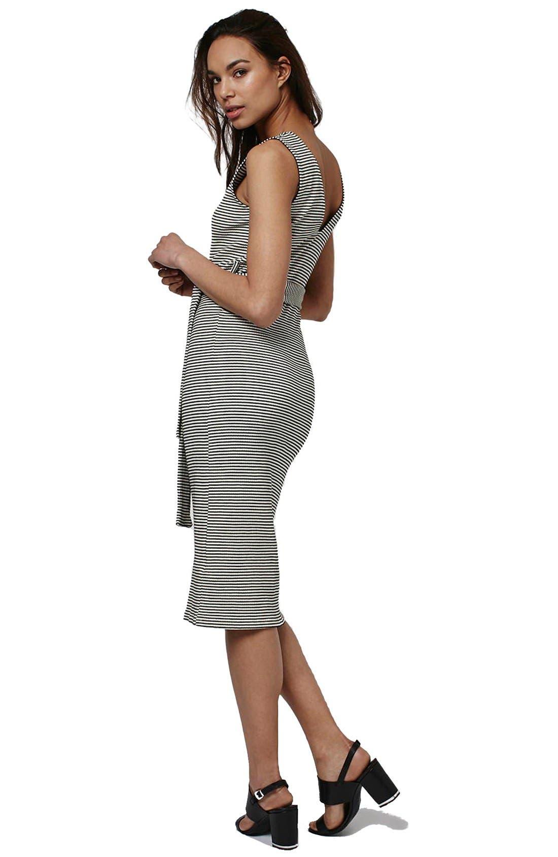 Alternate Image 2  - Topshop Belted Stripe V-Neck Midi Dress