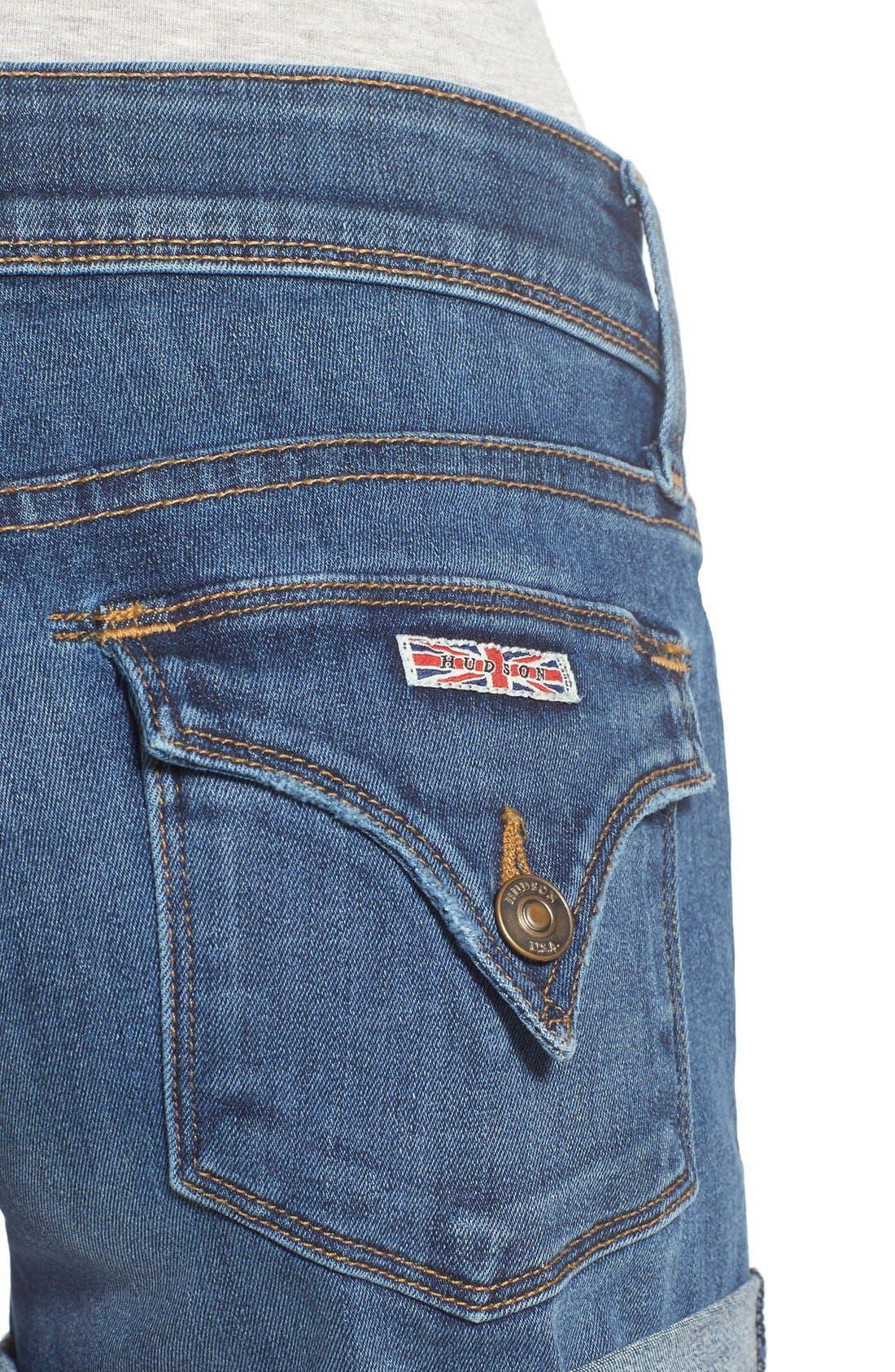 'Croxley' Cuffed Denim Shorts,                             Alternate thumbnail 4, color,                             Advantageous