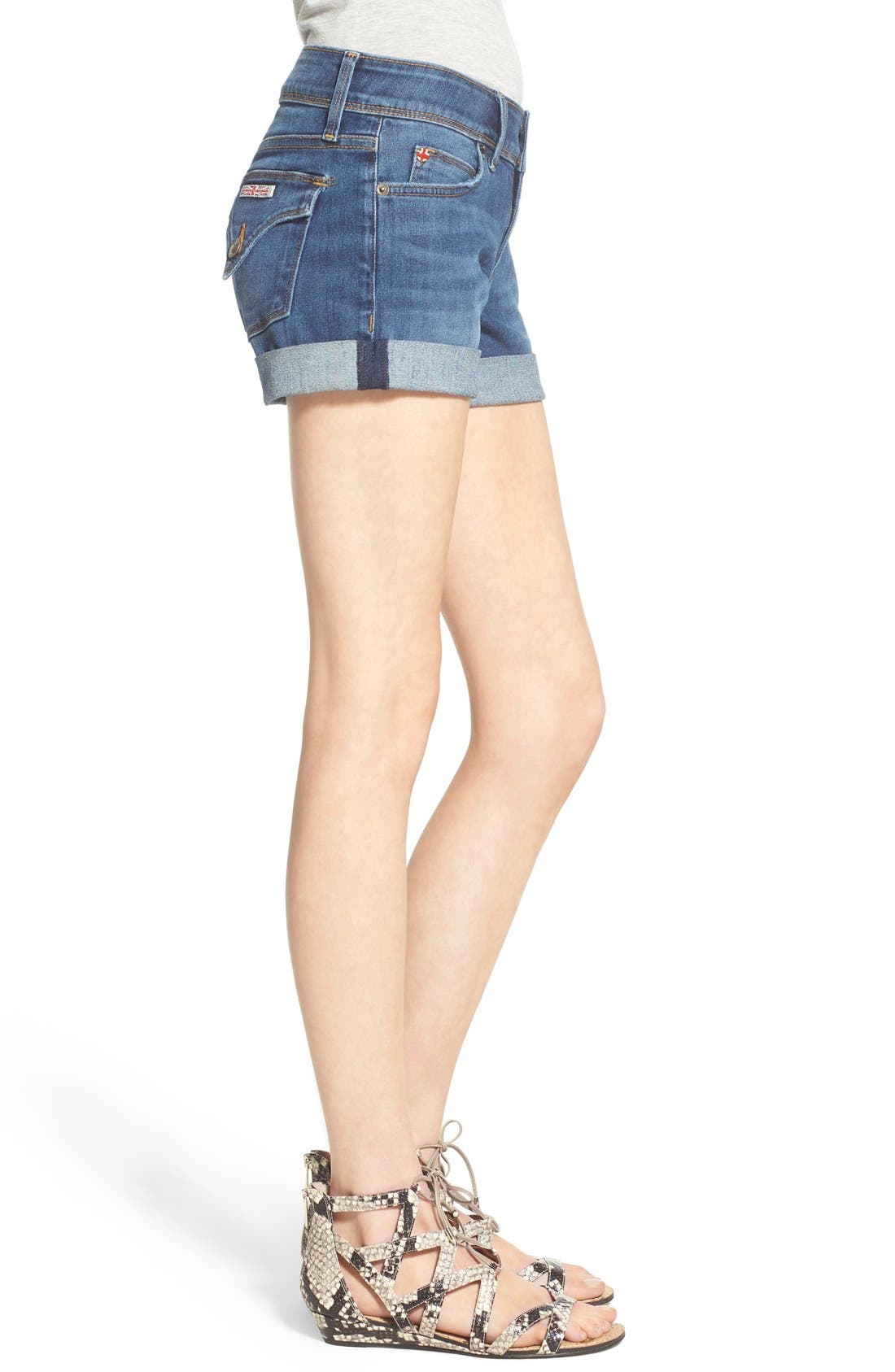 'Croxley' Cuffed Denim Shorts,                             Alternate thumbnail 3, color,                             Advantageous