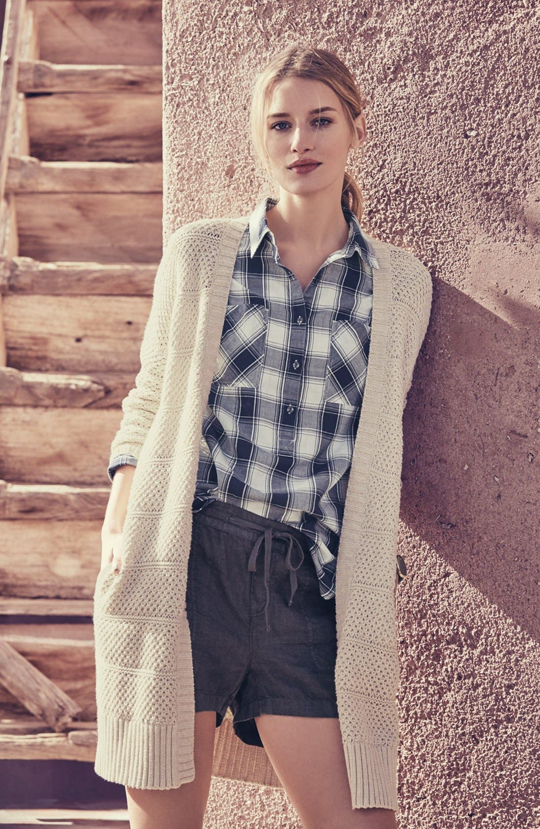 Alternate Image 6  - Caslon® Open Stitch Long Cotton Cardigan (Regular & Petite)