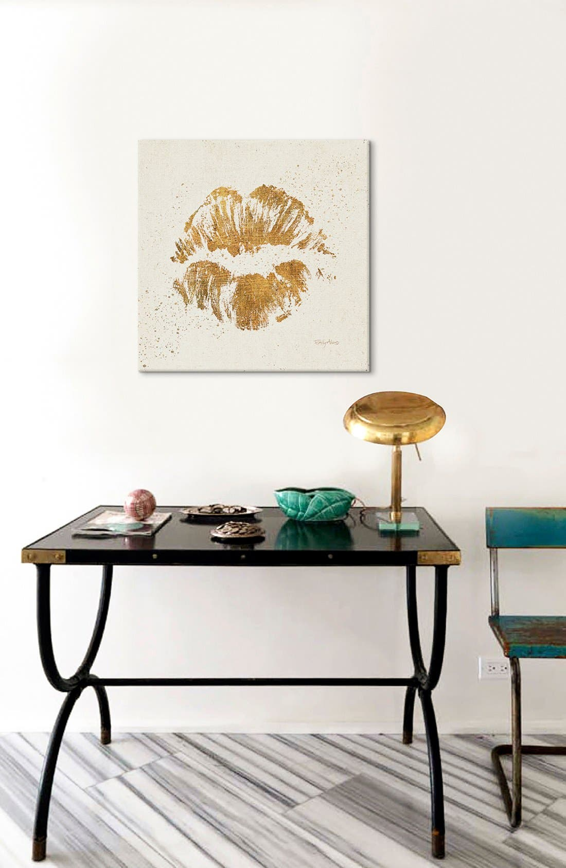 'Golden Lips' Giclée Print Canvas Art,                             Alternate thumbnail 2, color,                             Beige