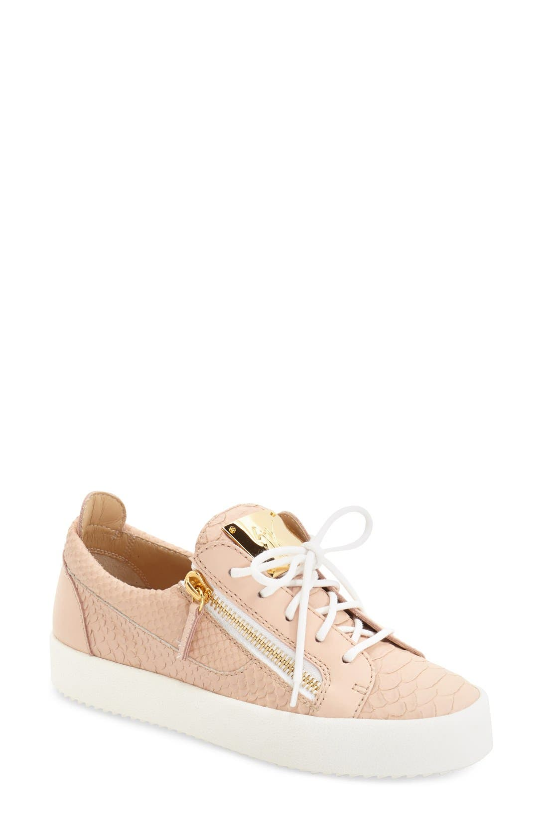 'May London' Snake Embossed Low Top Sneaker,                             Main thumbnail 1, color,                             Nude Leather