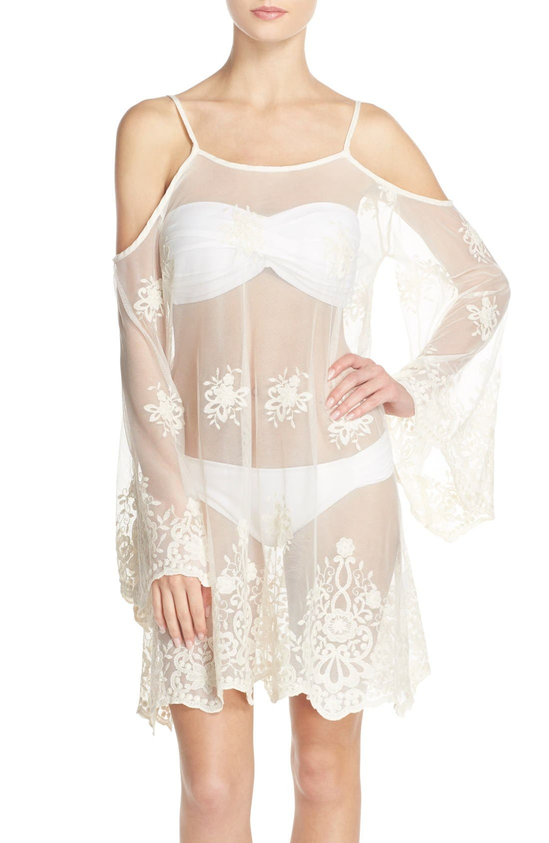 Main Image - Elan Lace Cover-Up Cold Shoulder Dress