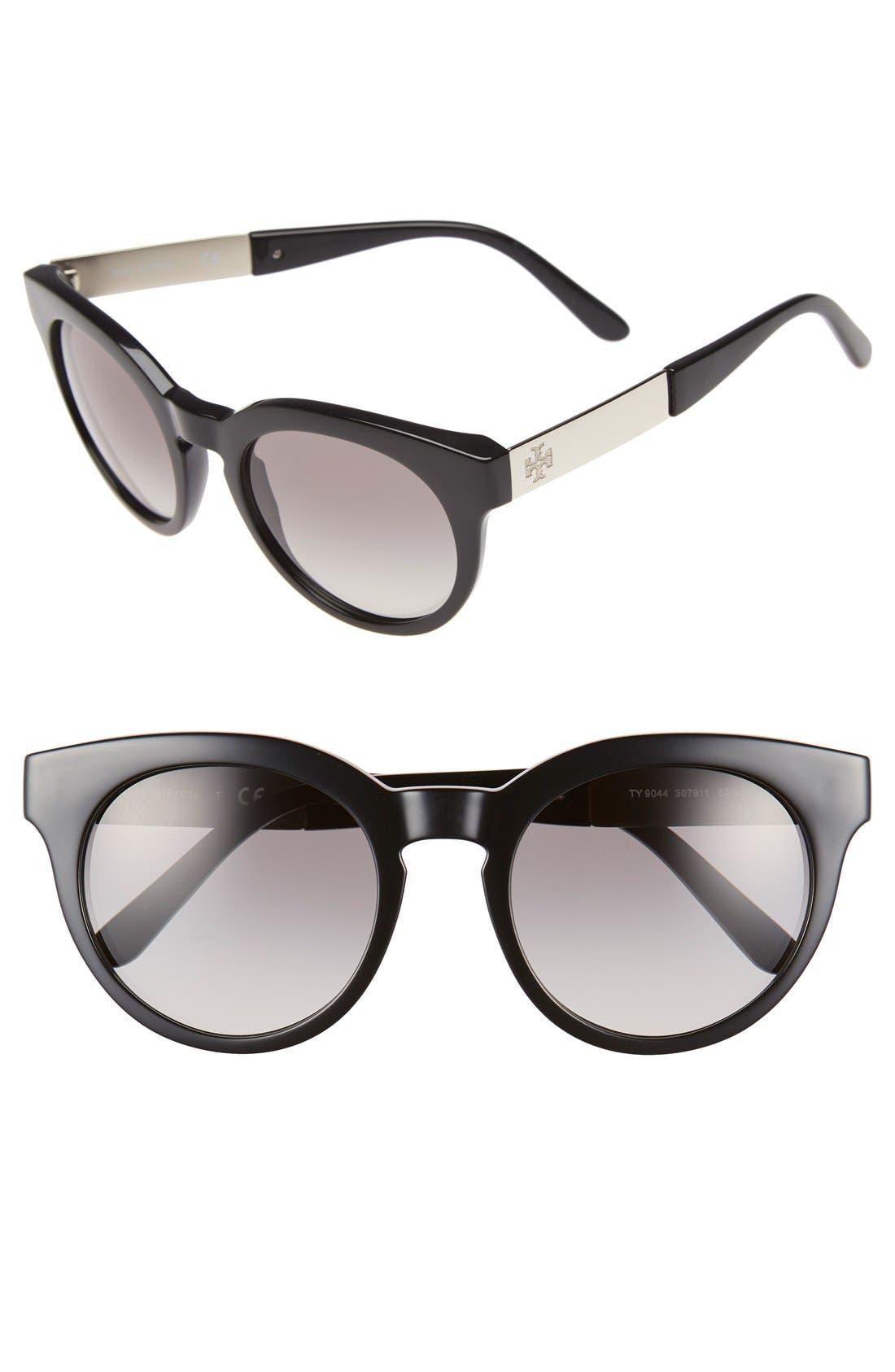 52mm Retro Sunglasses,                         Main,                         color, Black