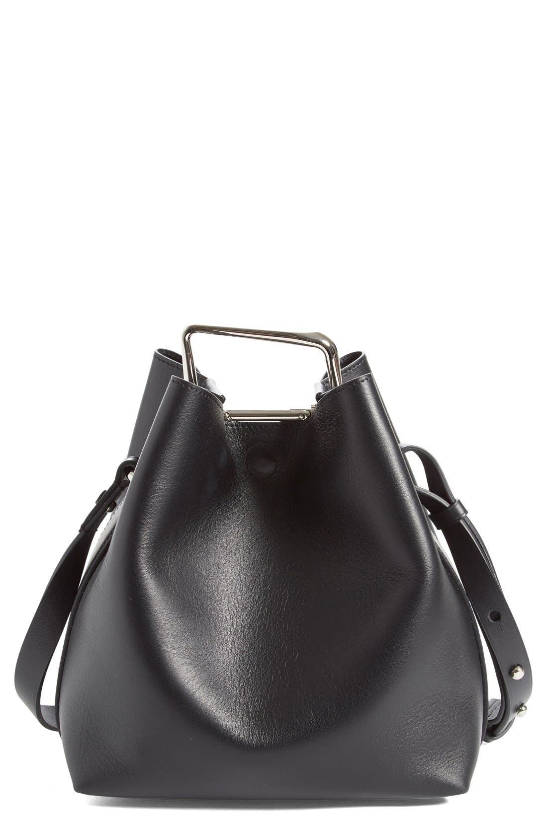 'Mini Quill' Leather Bucket Bag,                             Main thumbnail 1, color,                             Black