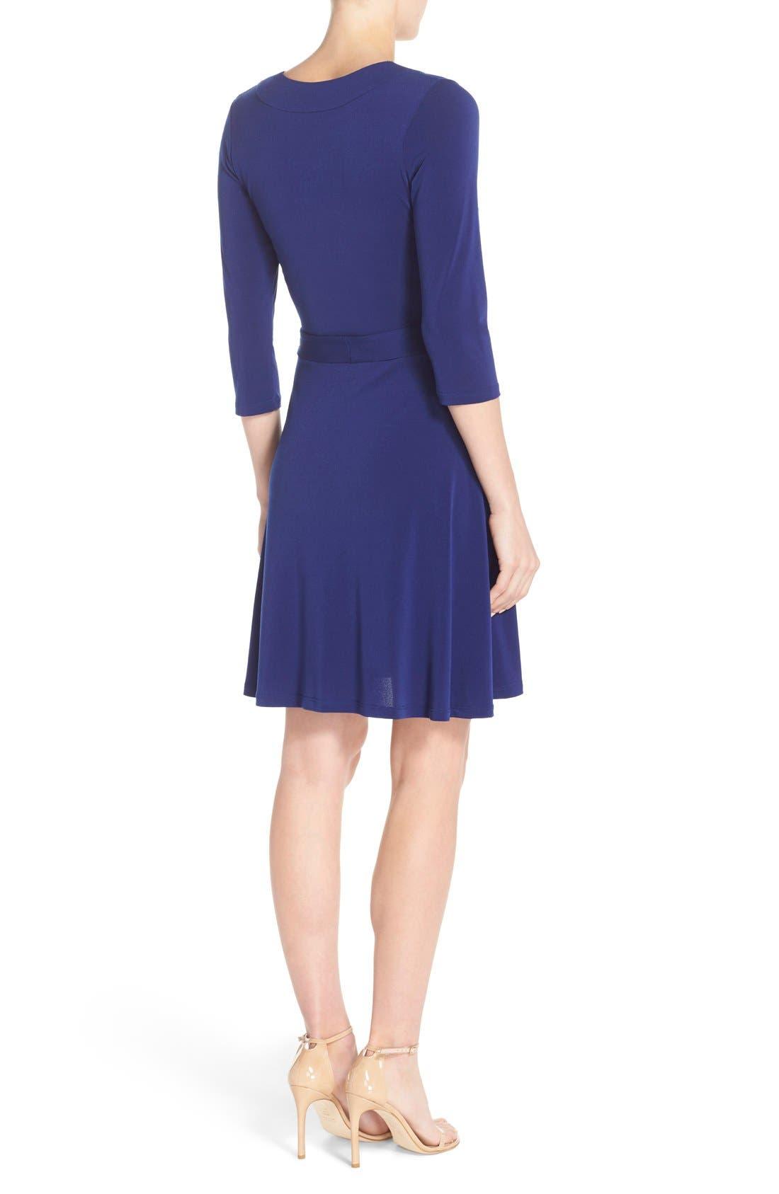 Jersey Faux Wrap Dress,                             Alternate thumbnail 2, color,                             Navy