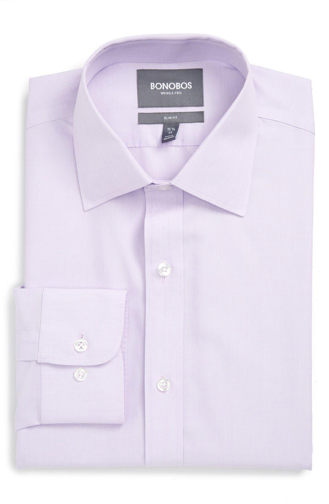 Slim Fit Wrinkle Free Solid Dress Shirt,                             Alternate thumbnail 4, color,                             Pale Lilac