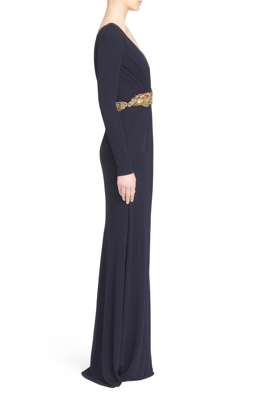 Couture Embellished Waist Plunging V-Neck Jersey Gown,                             Alternate thumbnail 4, color,                             Navy