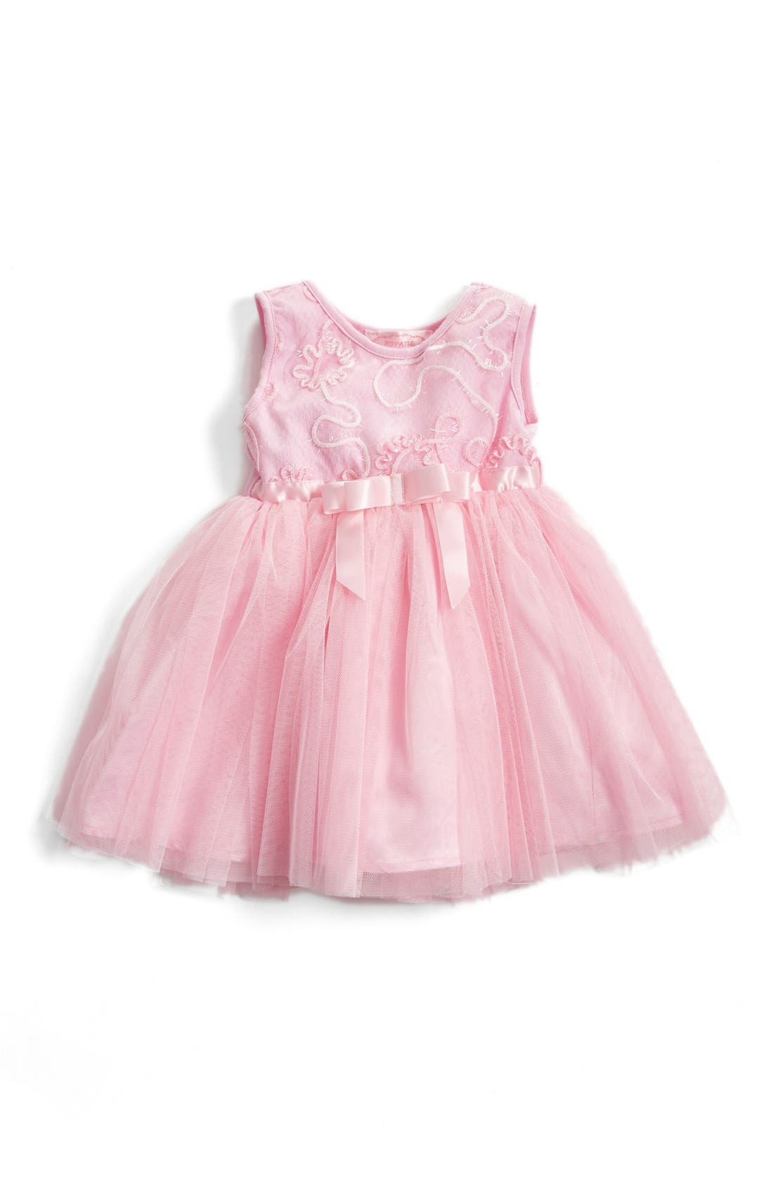 Sequin Flower Tulle Dress,                             Main thumbnail 1, color,                             Pink