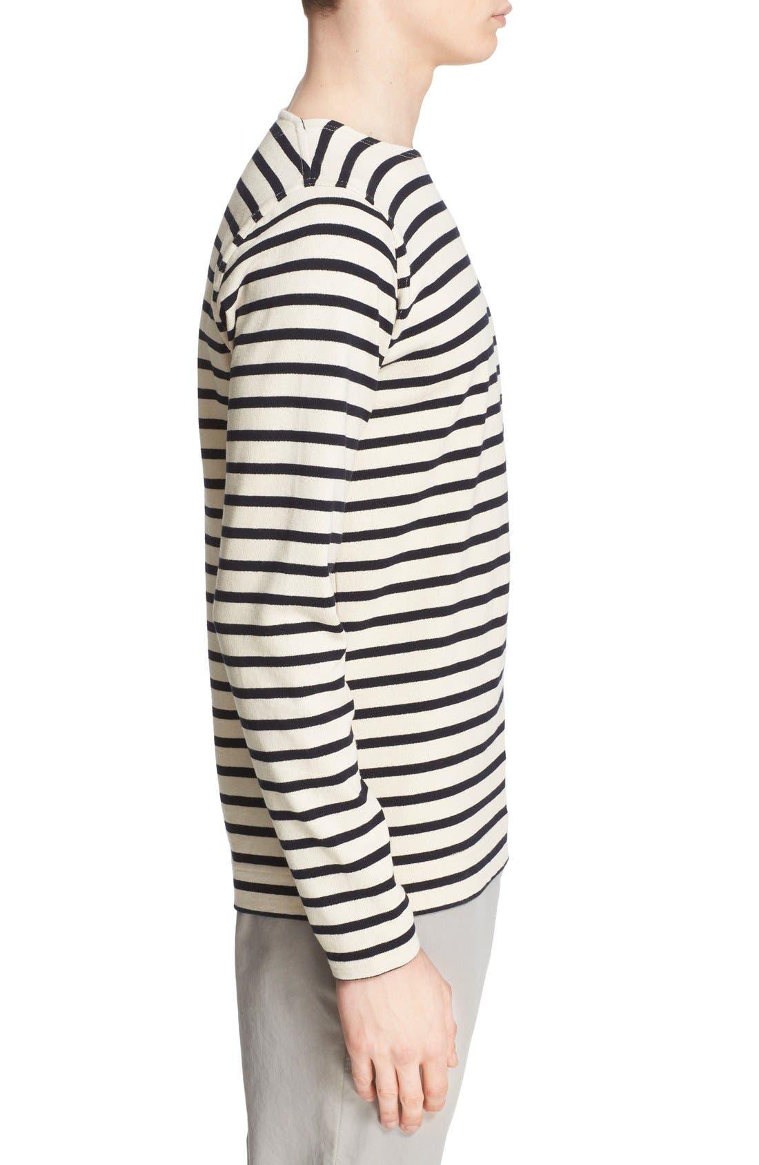 'Godtfred' Stripe Long Sleeve T-Shirt,                             Alternate thumbnail 3, color,                             Ecru Navy