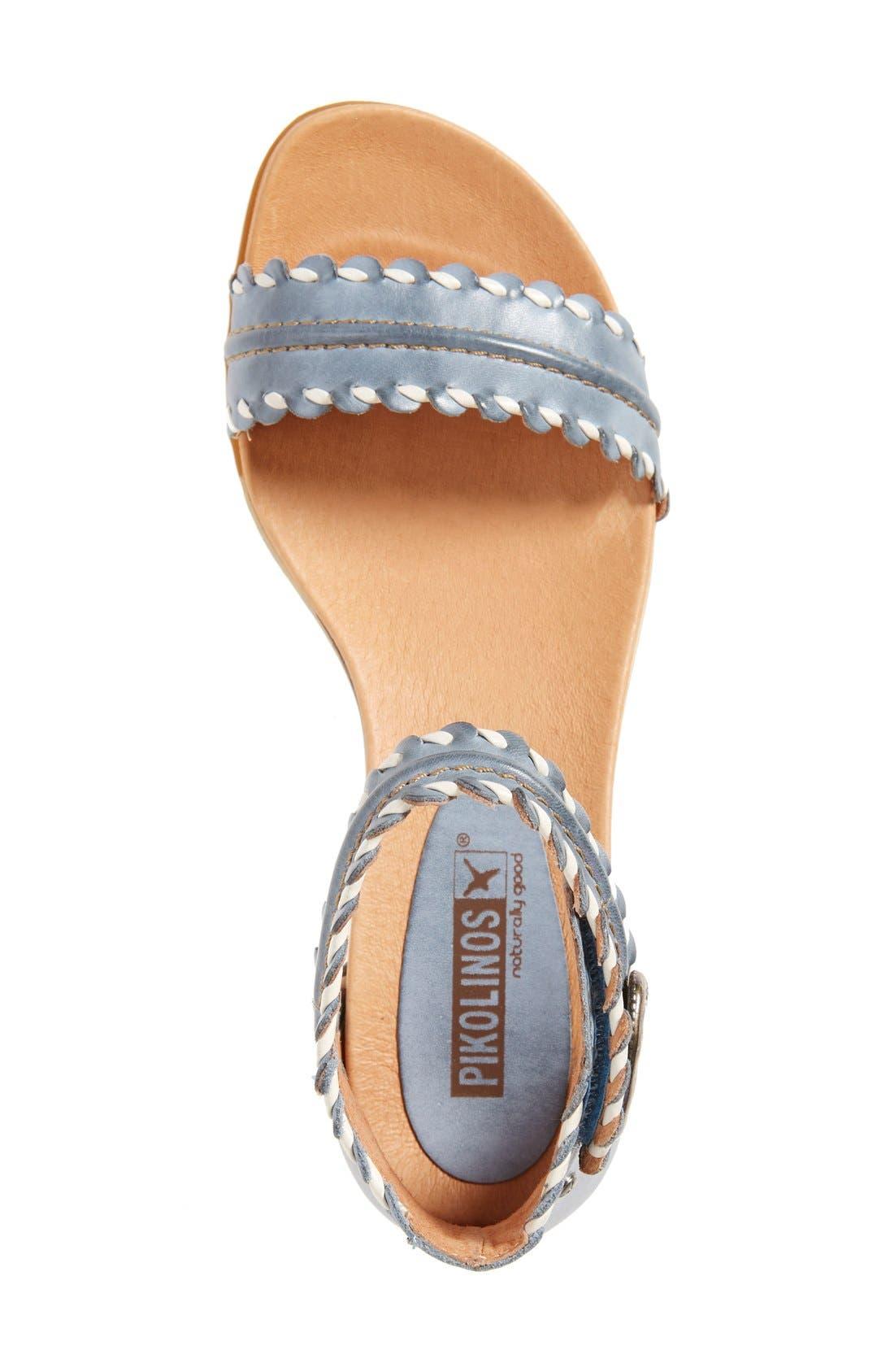 'Alcudia' Ankle Strap Sandal,                             Alternate thumbnail 3, color,                             Denim Leather