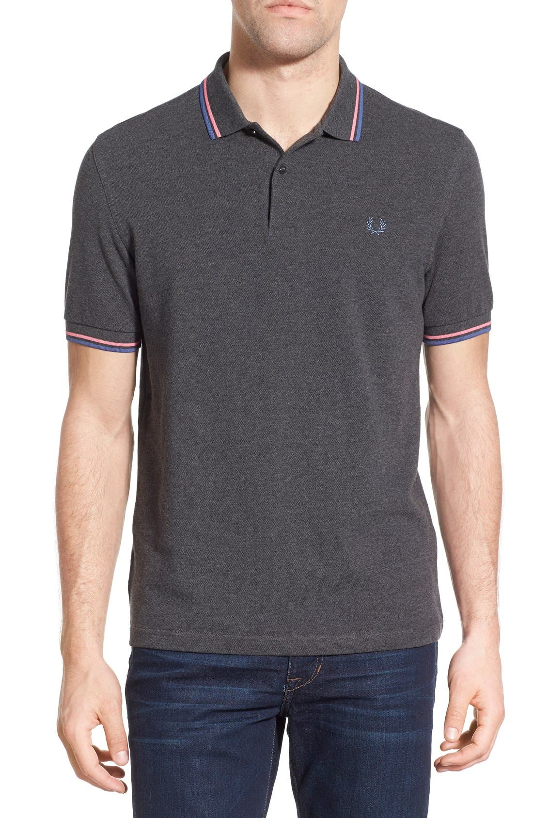 Alternate Image 1 Selected - Fred Perry Extra Trim Fit Twin Tipped Piqué Polo