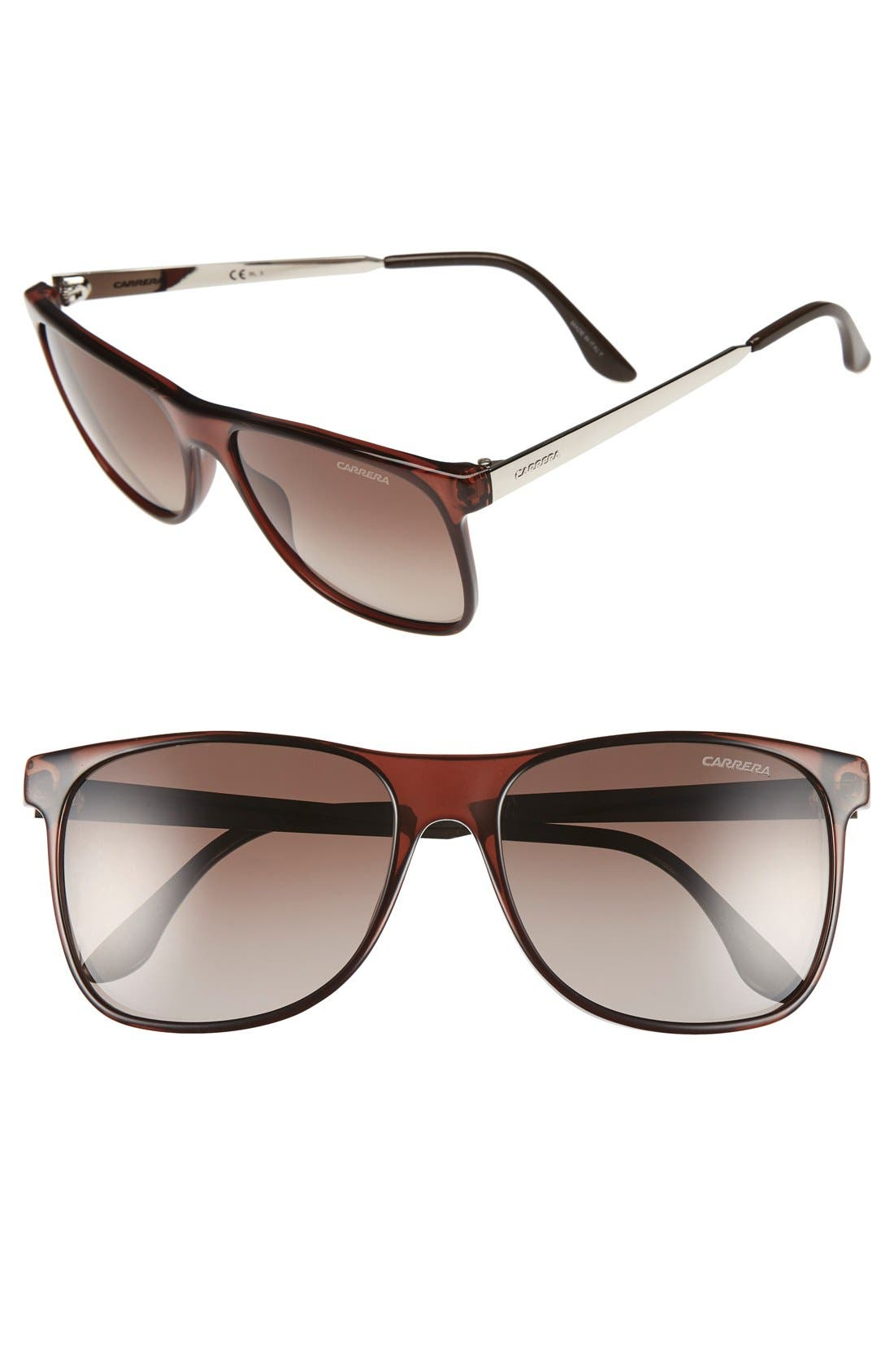 57mm Polarized Sunglasses,                         Main,                         color, Brown Gradient/ Silver Metal