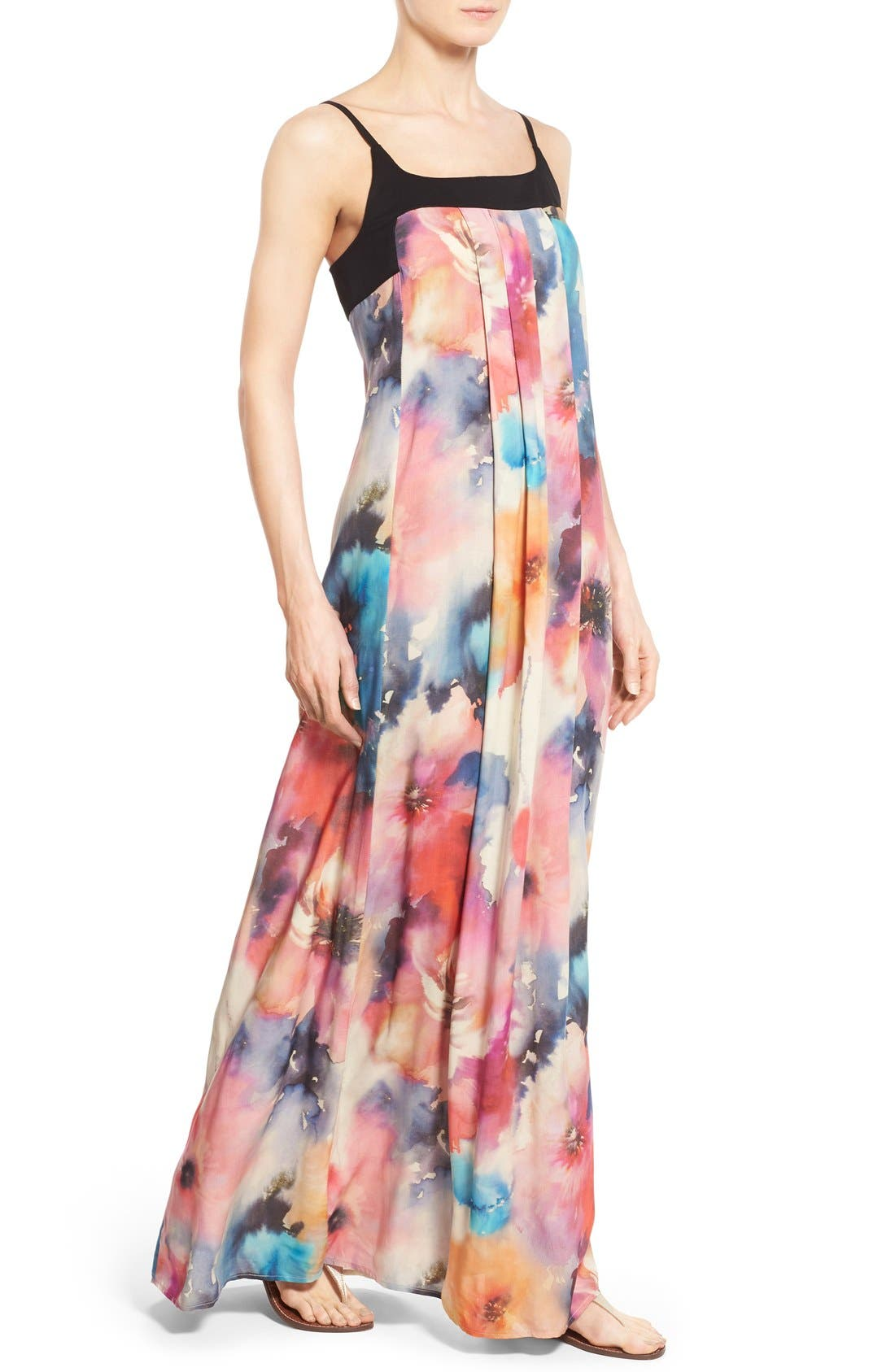 Alternate Image 4  - Matty M Print Sleeveless Pleat Maxi Dress
