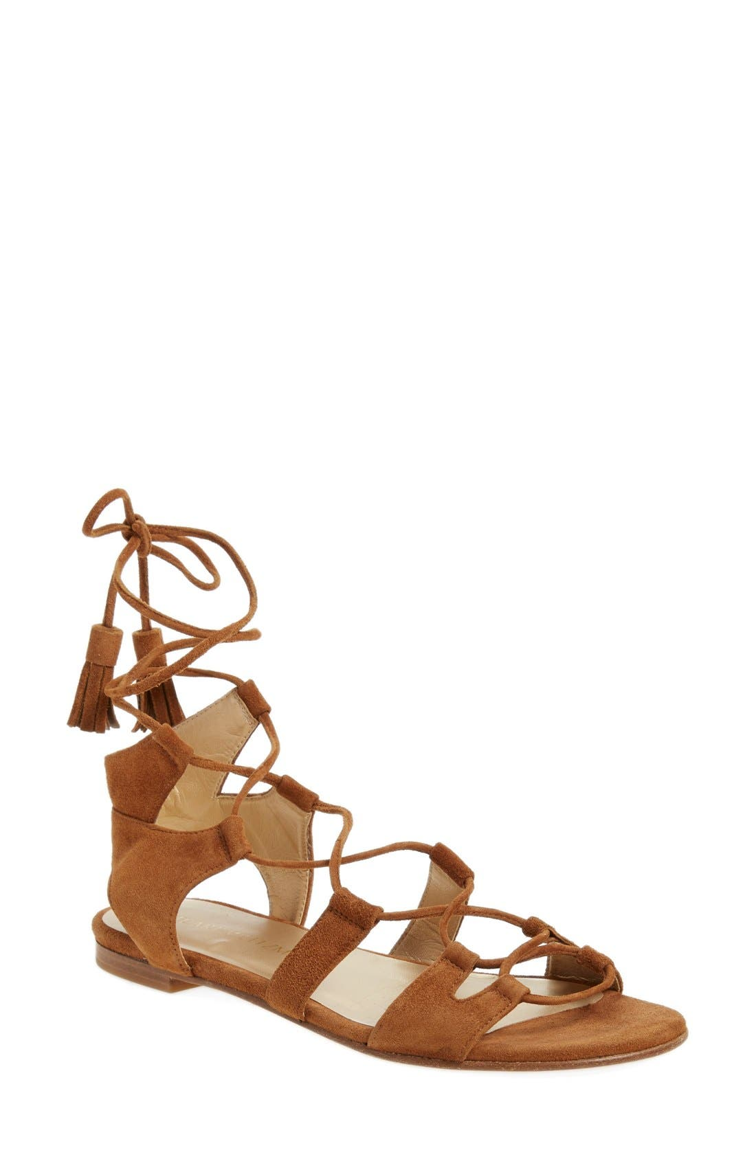 'Romanflat' Ghillie Sandal,                         Main,                         color, Amaretto Suede
