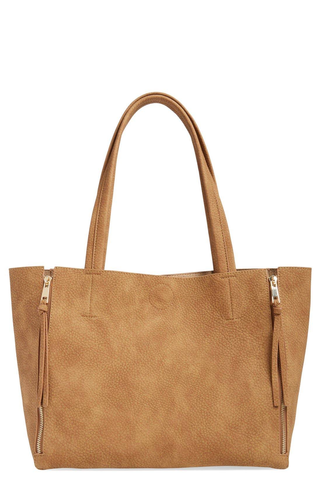 Main Image - BP. Zip Detail Faux Leather Tote