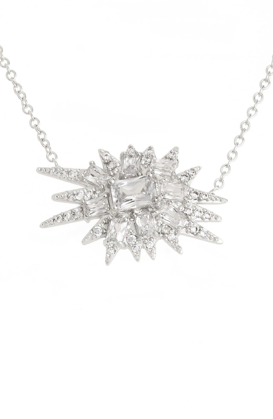 'Explosion' Cubic Zirconia Pendant Necklace,                             Main thumbnail 1, color,                             Silver