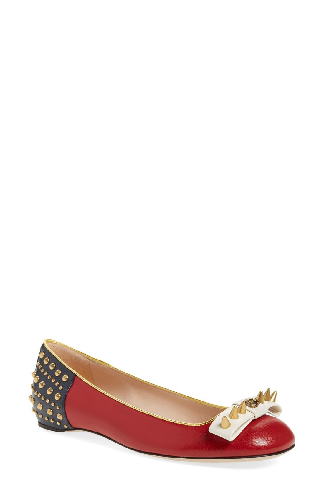 Alternate Image 1 Selected - Gucci 'Lexi' Studded Square Toe Flat (Women)
