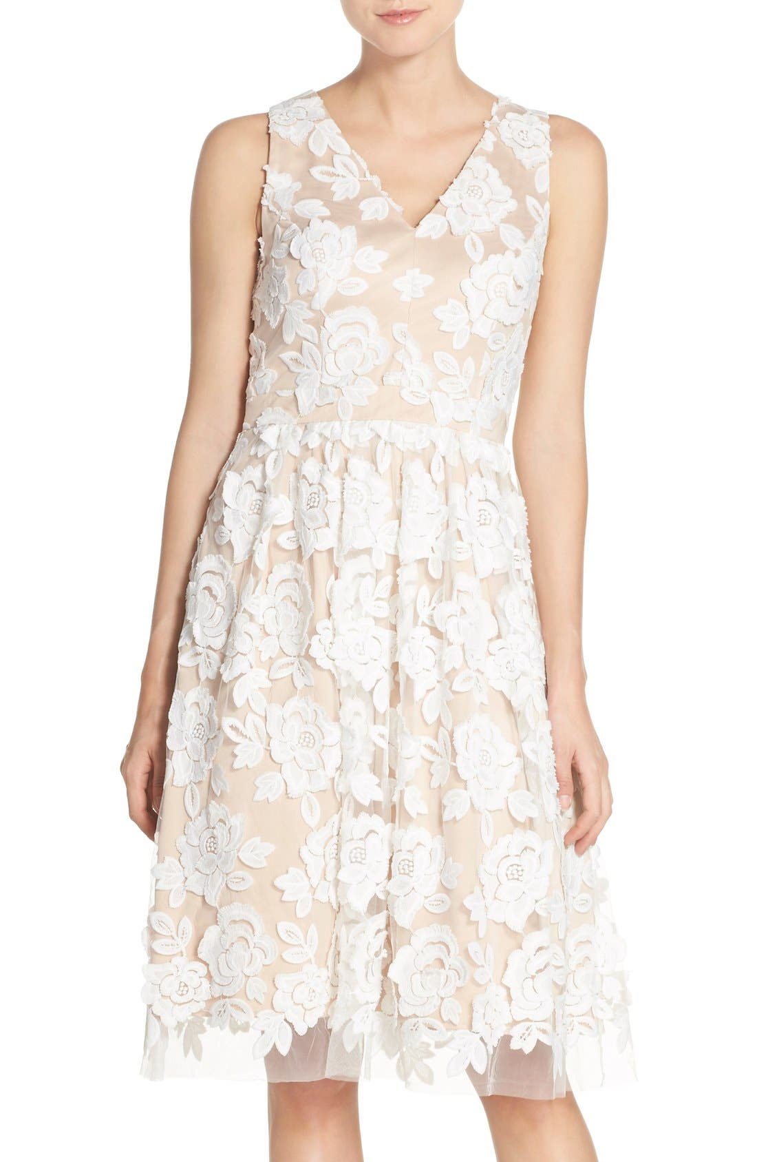 Embroidered Mesh Fit & Flare Dress,                         Main,                         color, Ivory